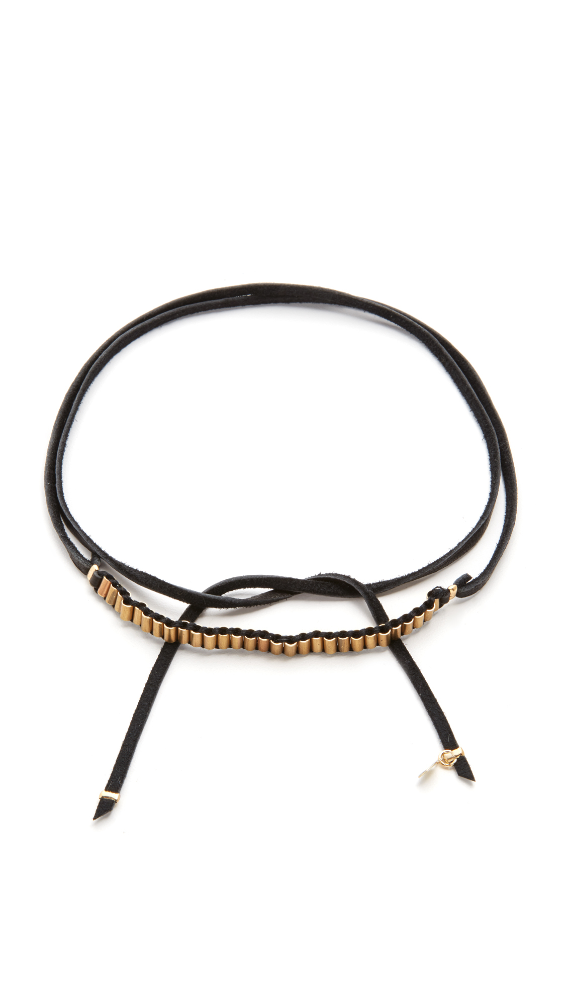 Lyst Shashi Military Leather Wrap Choker Necklace In Black