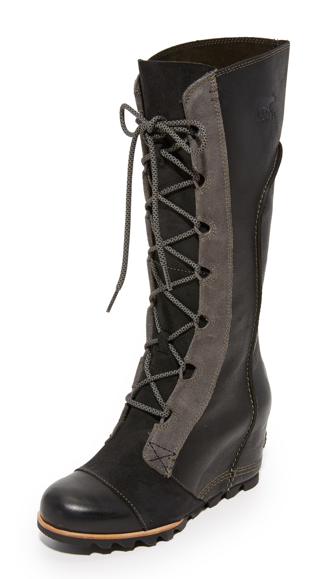 sorel cate the great wedge boots in black lyst