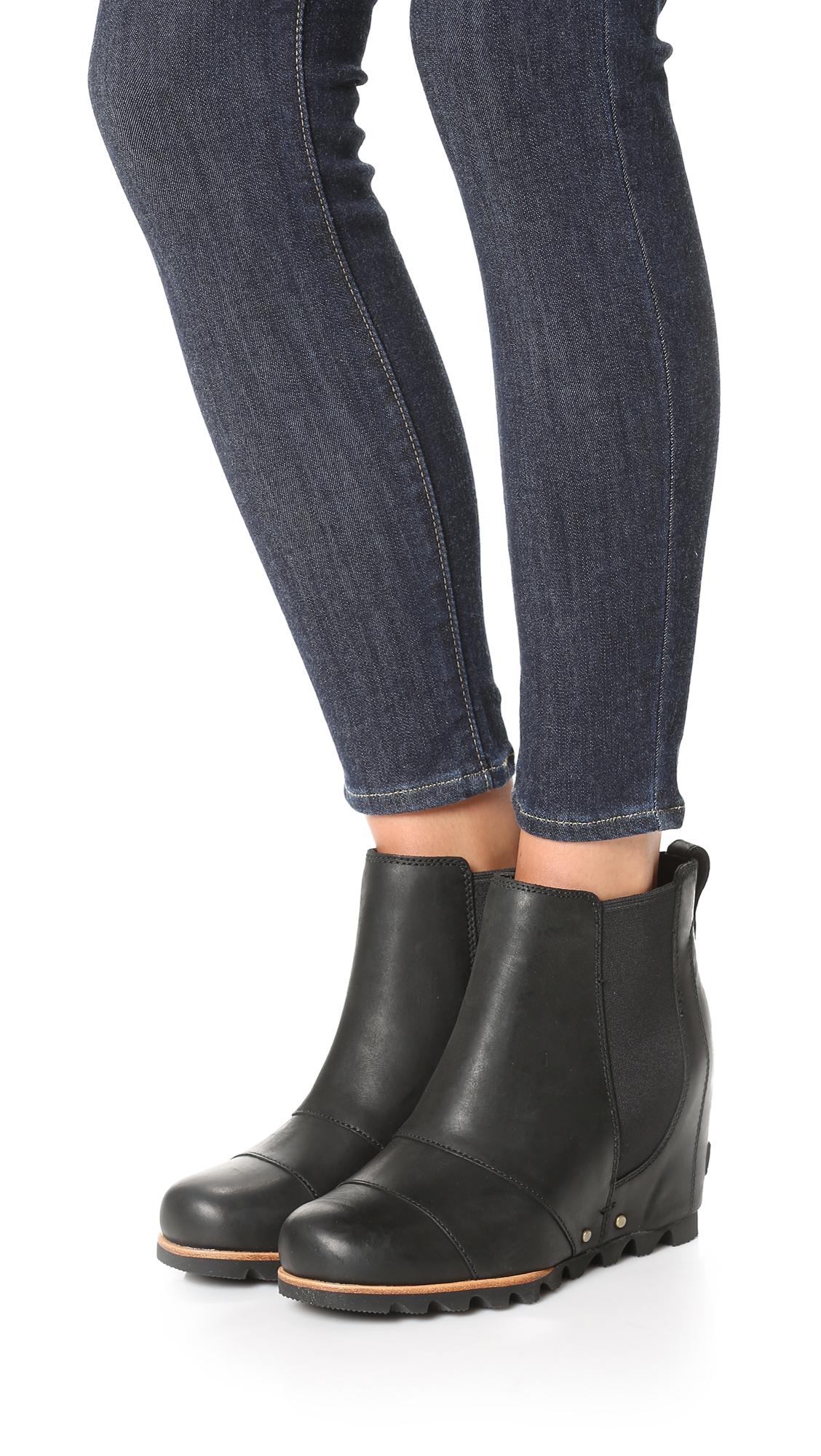 Sorel Lea Wedge Booties In Black Lyst