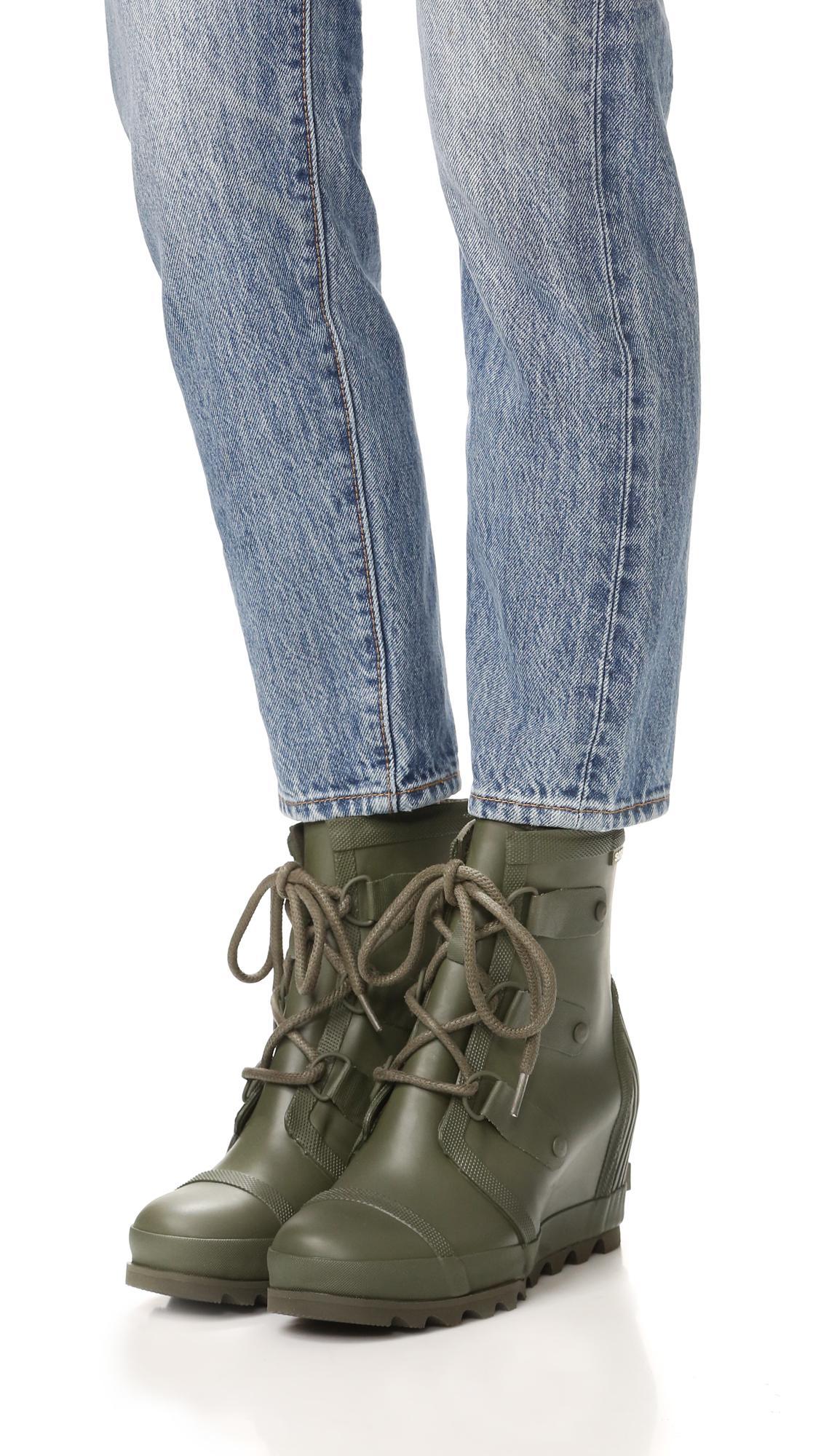 Lyst Sorel Joantm Rain Wedge Rubber Boots In Green