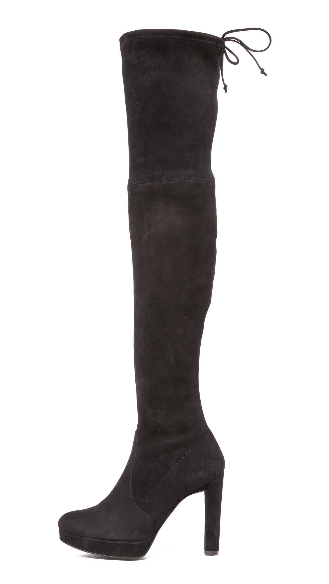 Stuart Weitzman Suede Platform Highland Over The Knee Boots in Black