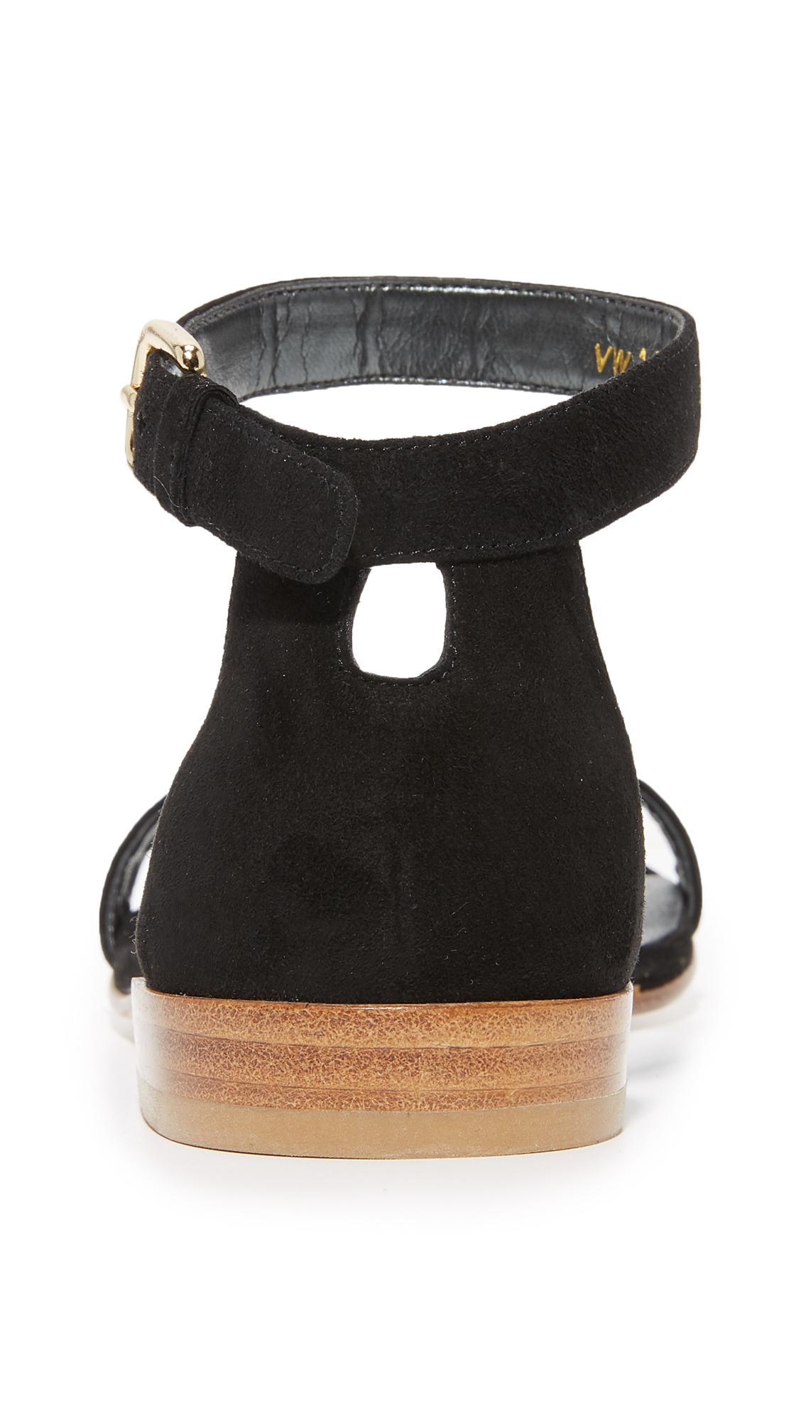 Lyst Stuart Weitzman Nudist Flat Sandals In Black