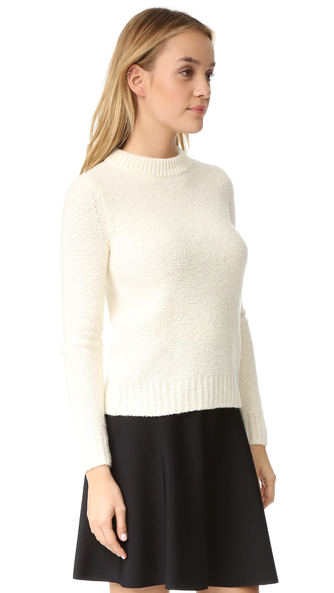 Theory Turtleneck Ribbed Cashmere Sweater In White Lyst