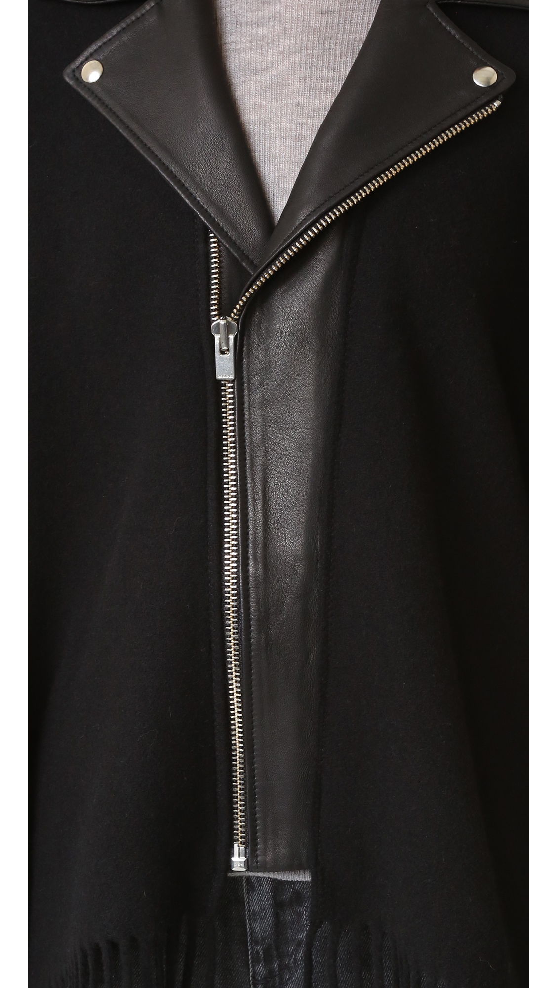 The Kooples Leather Collar Wool Poncho in Black