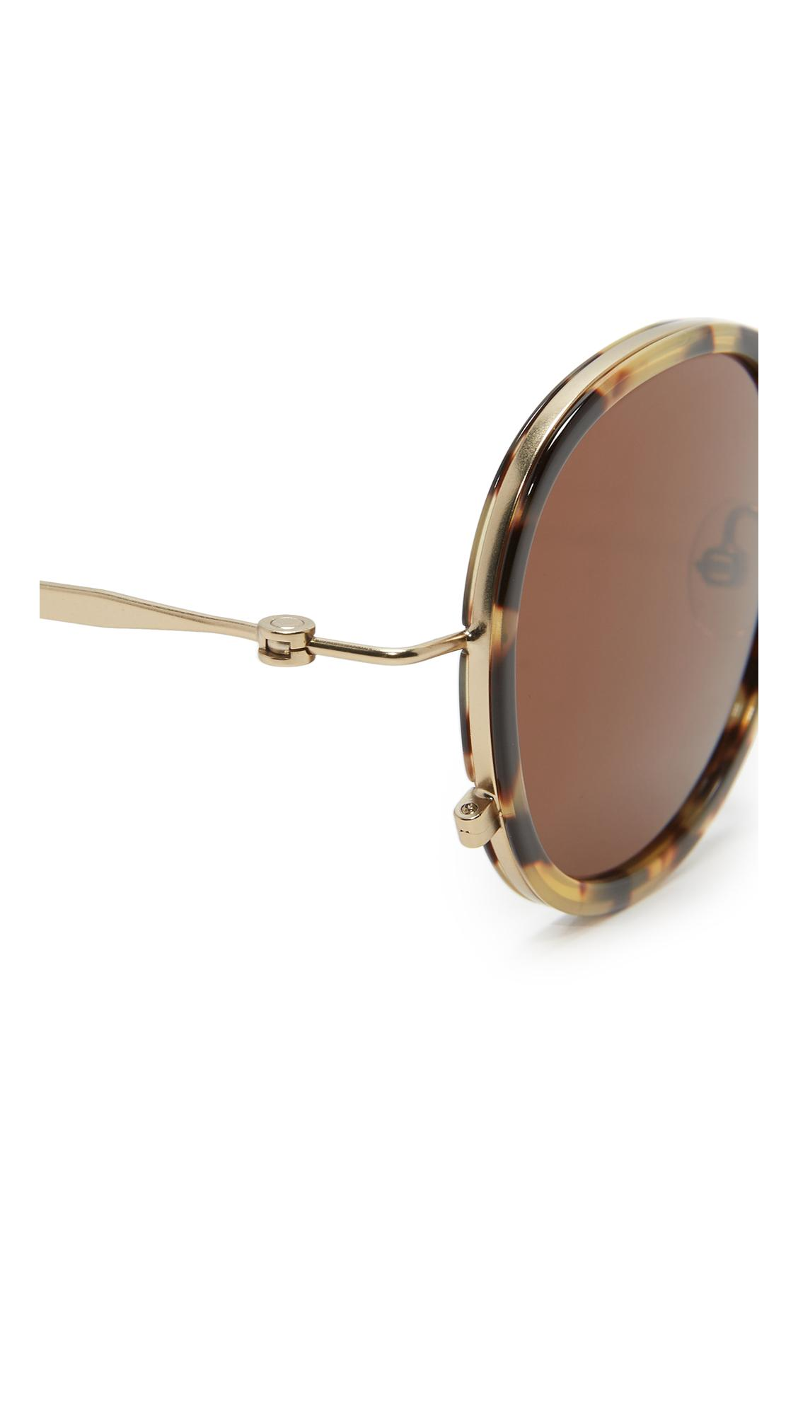 Tomas Maier Leather Eye Rim Round Sunglasses in Brown