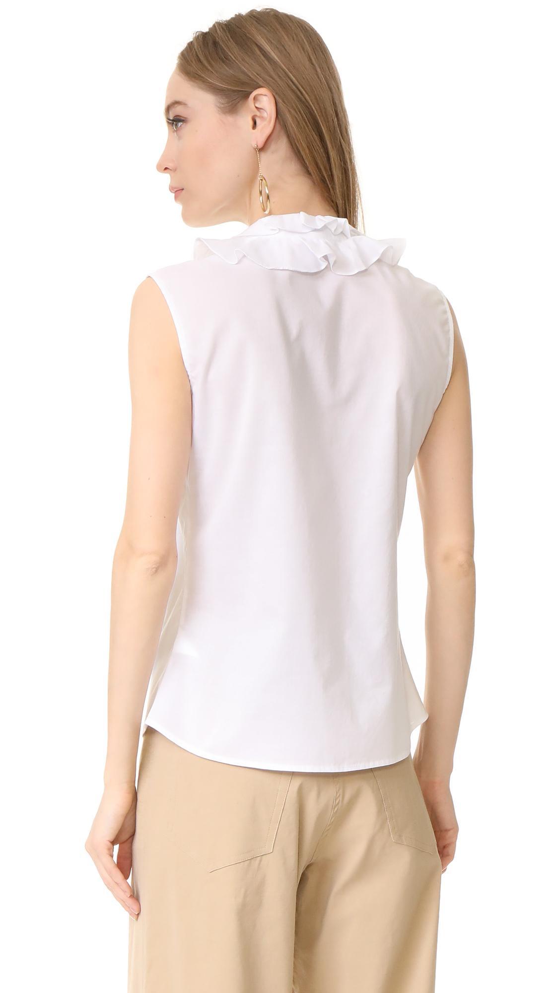 Lyst tome sleeveless ruffle collar shirt in white for Sleeveless white shirt with collar