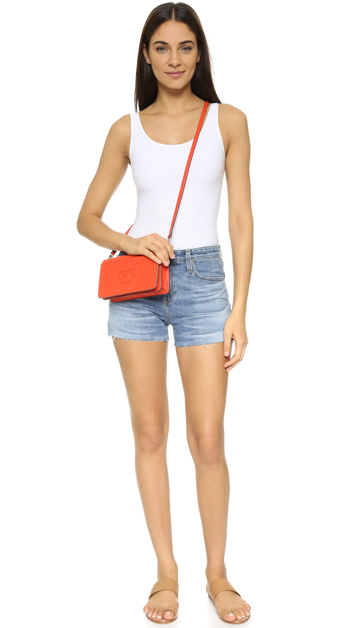 6a2d51607978 Lyst - Tory Burch Bombe T Small Cross Body Bag in Red