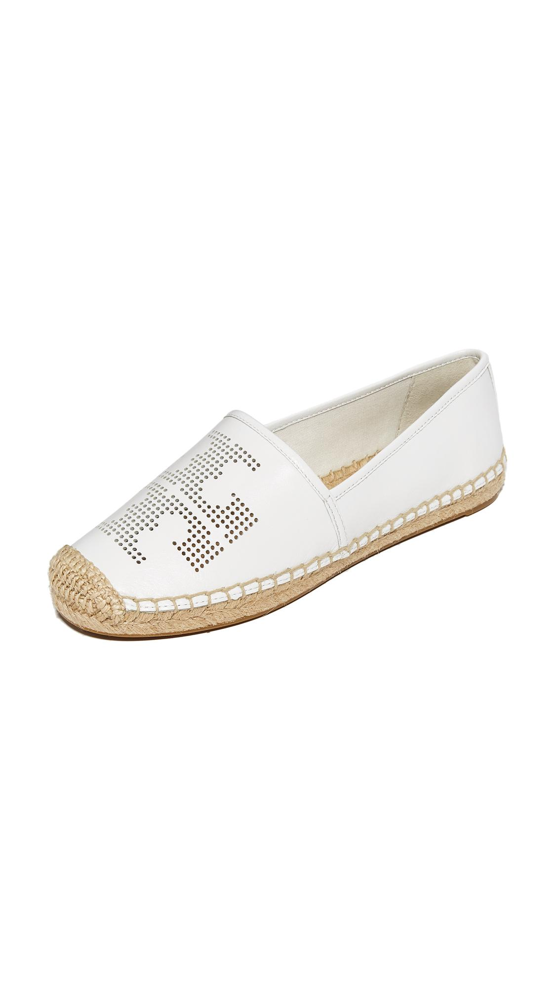 Lyst Tory Burch Perforated Logo Flat Espadrilles In White
