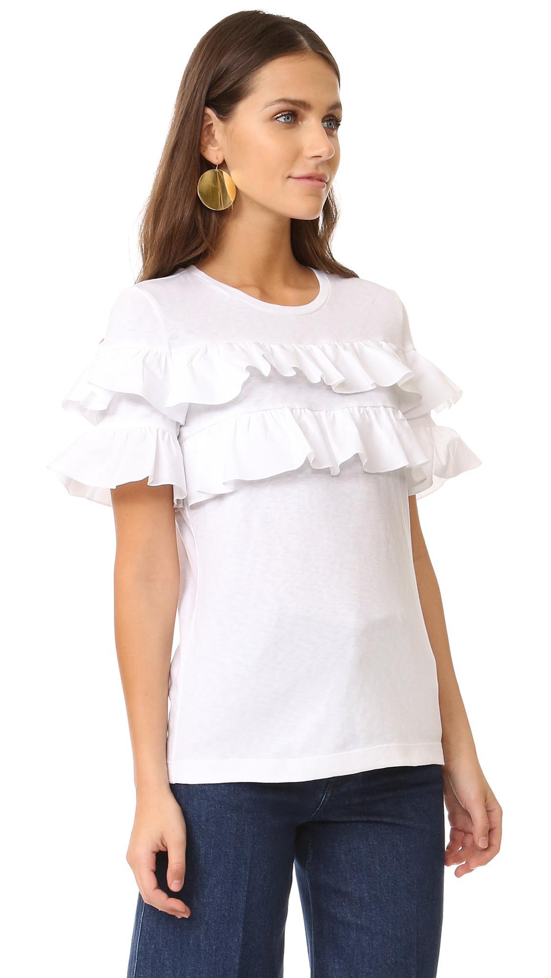 Tory burch lenox ruffle t shirt in white lyst for Tory burch t shirt