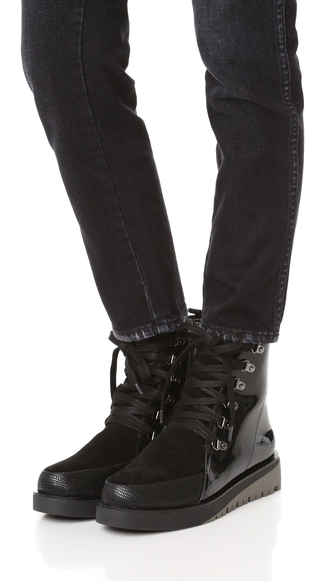 United Nude Hiker Combat Boots in Black