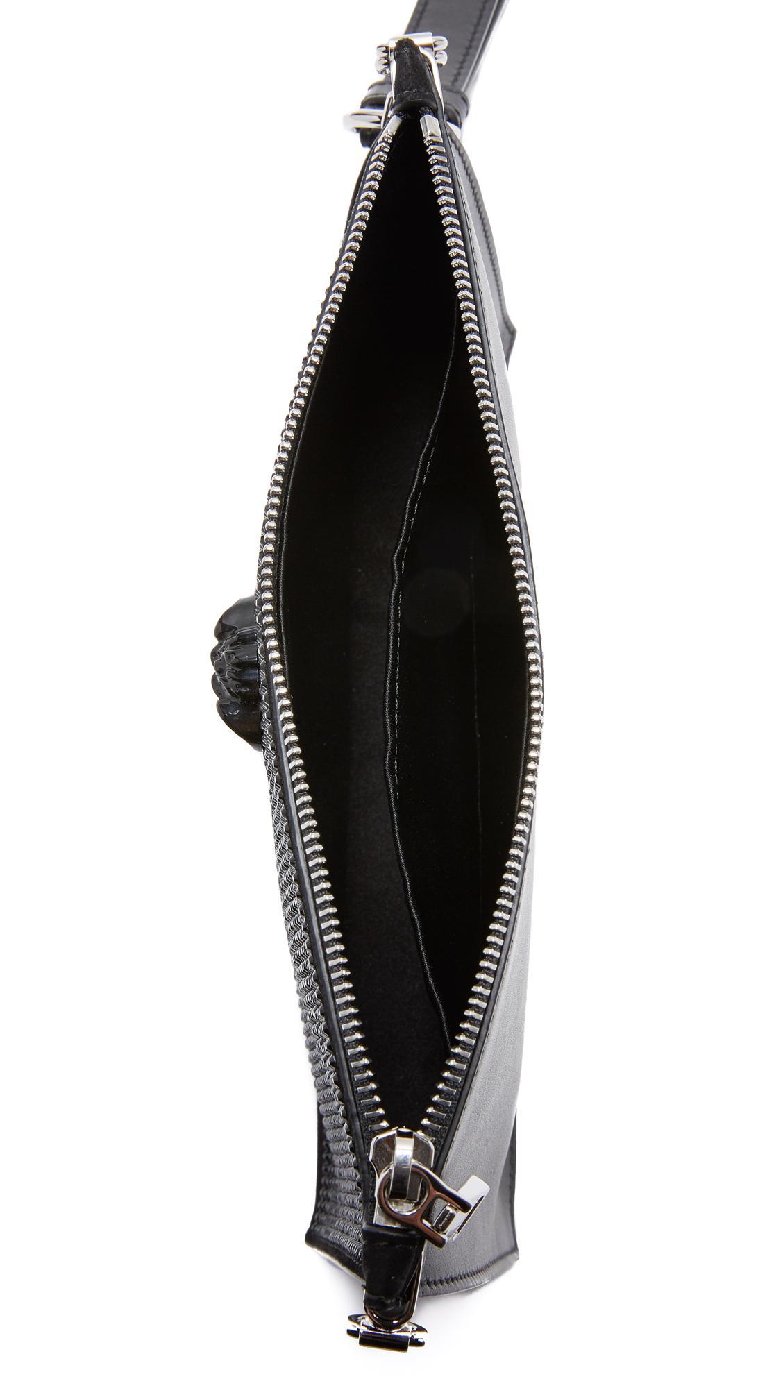 4b06349ce77f Lyst - Versace Swarovski Crystal Wristlet Clutch in Black