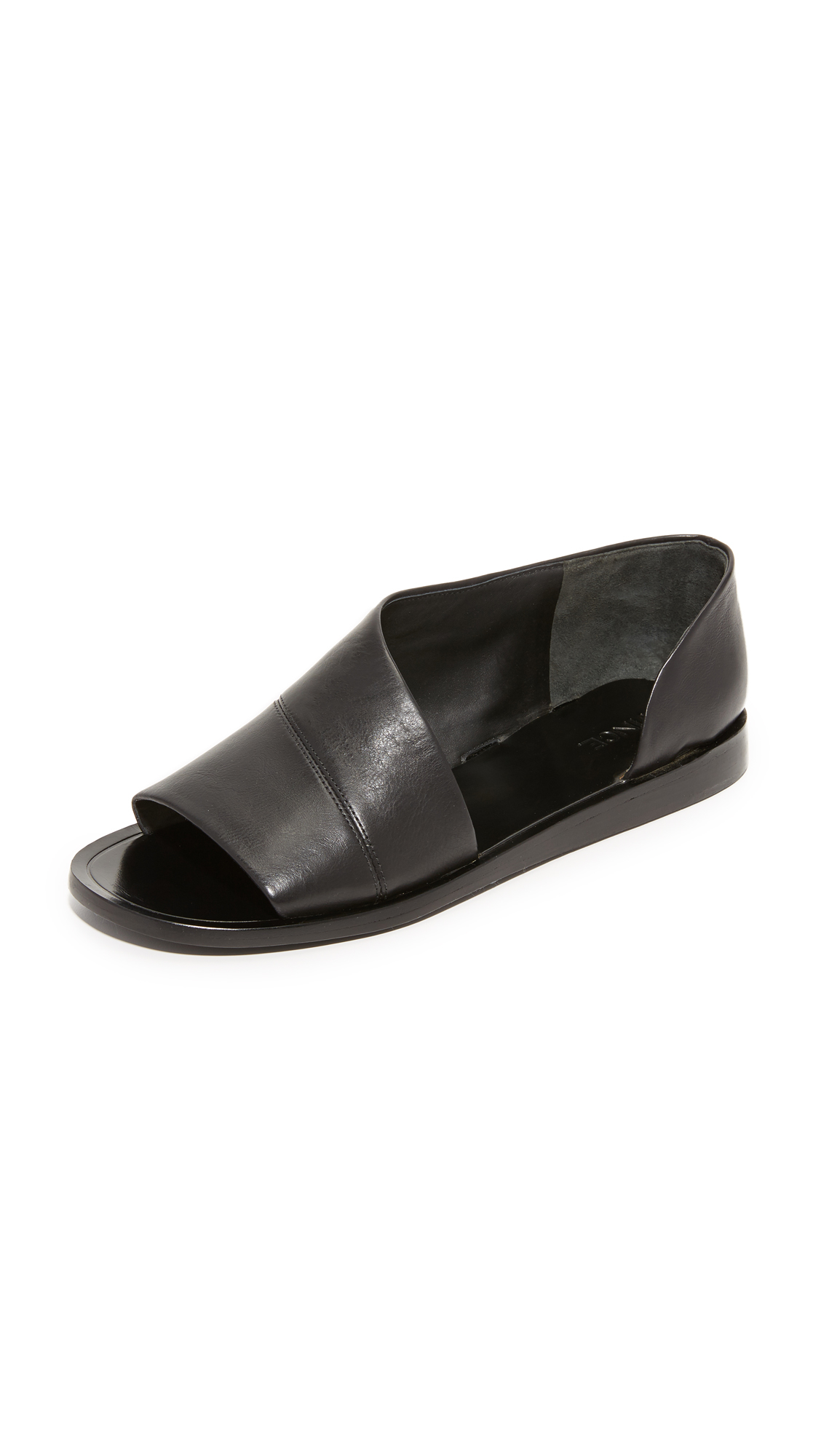 Vince Leather Tabitha Flat Sandals In Black Lyst
