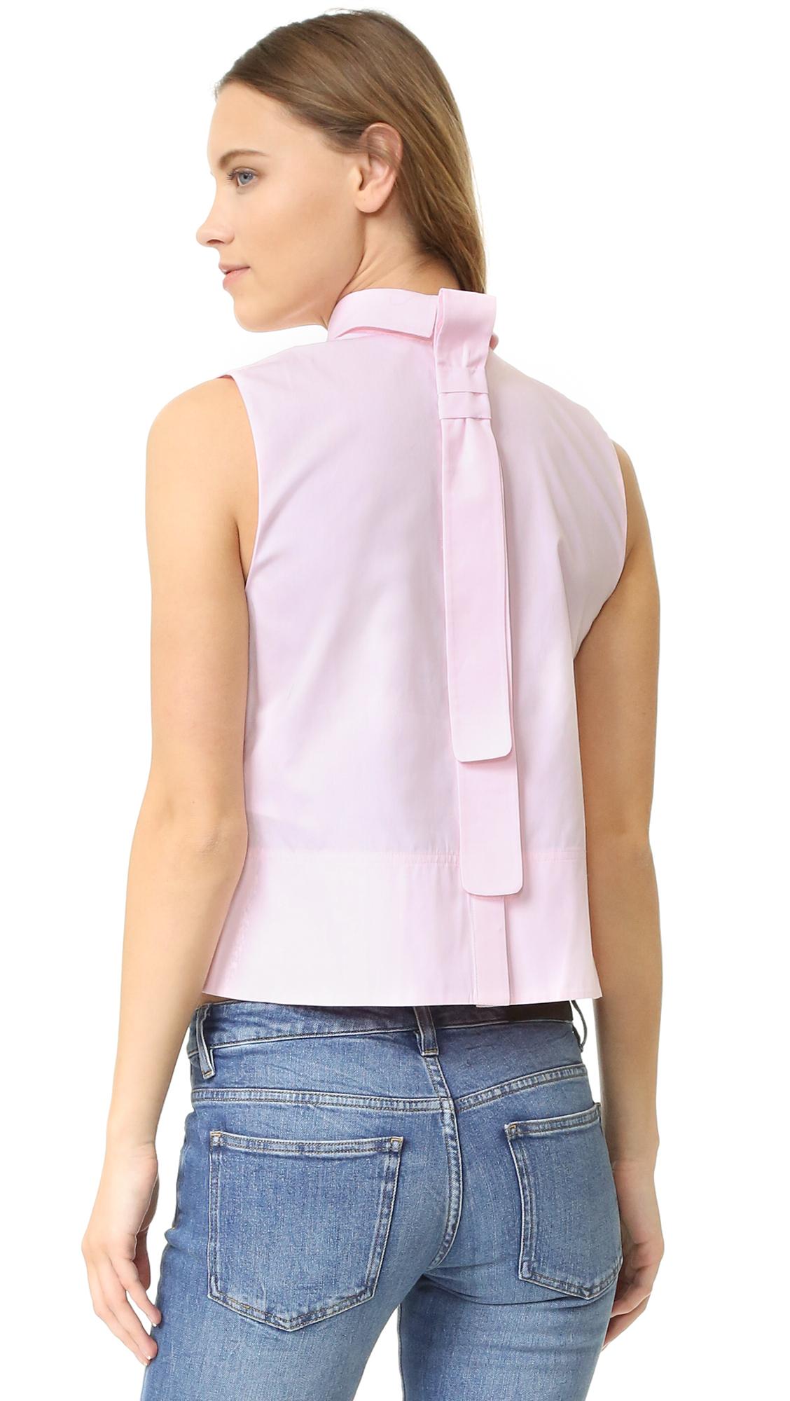 Victoria Victoria Beckham Tie Back Sleeveless Shirt In