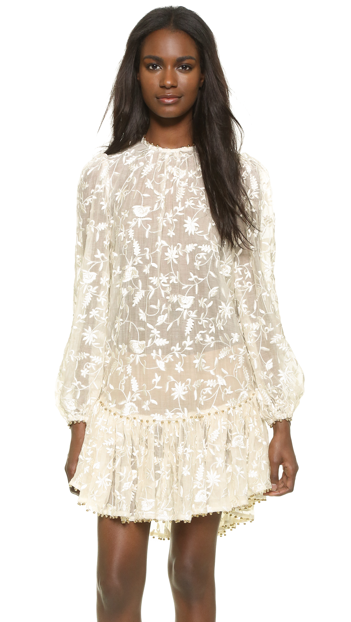 Zimmermann master embroidered dress in white natural lyst