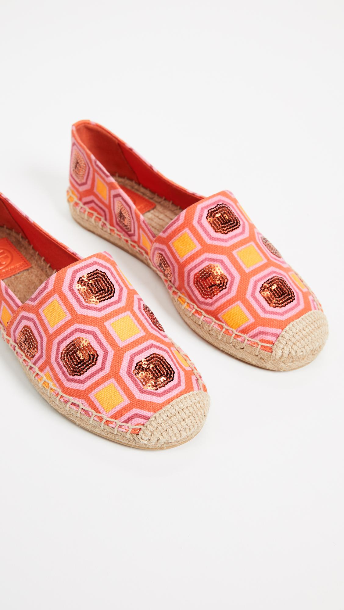 41073a102ab Tory Burch Cecily Embellished Espadrilles in Pink - Lyst