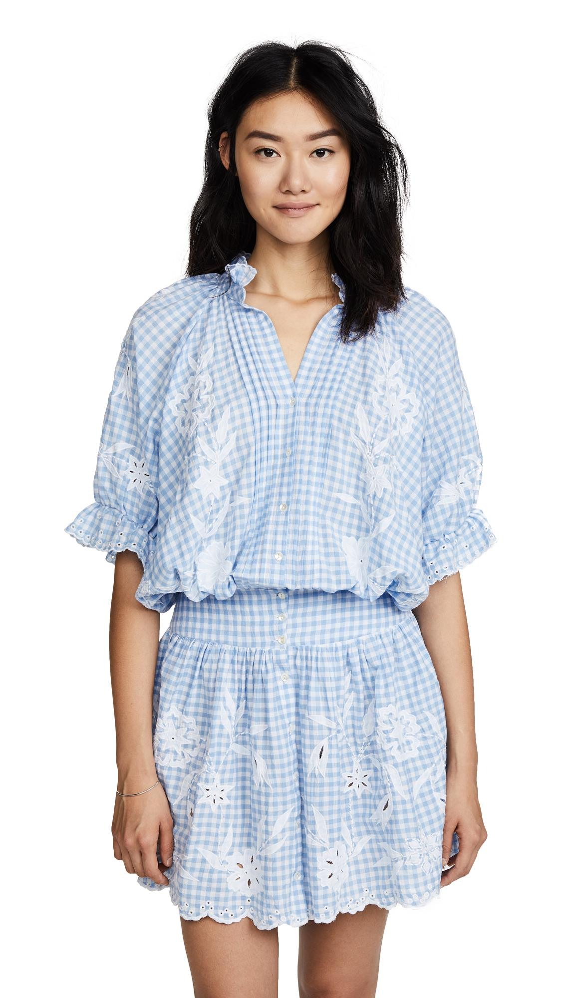 1626cf6aa5 Juliet Dunn Embroidered Gingham Mini Dress in Blue - Lyst