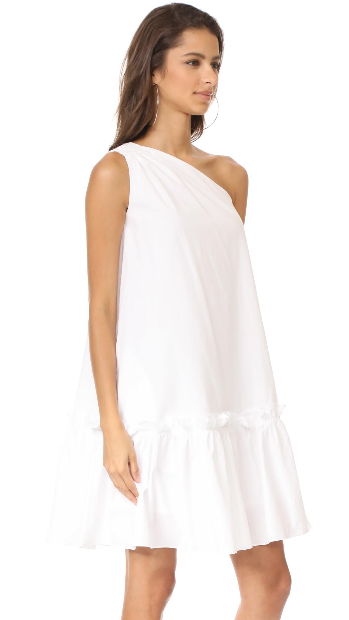 Edit One Shoulder Applique Dress In White Lyst