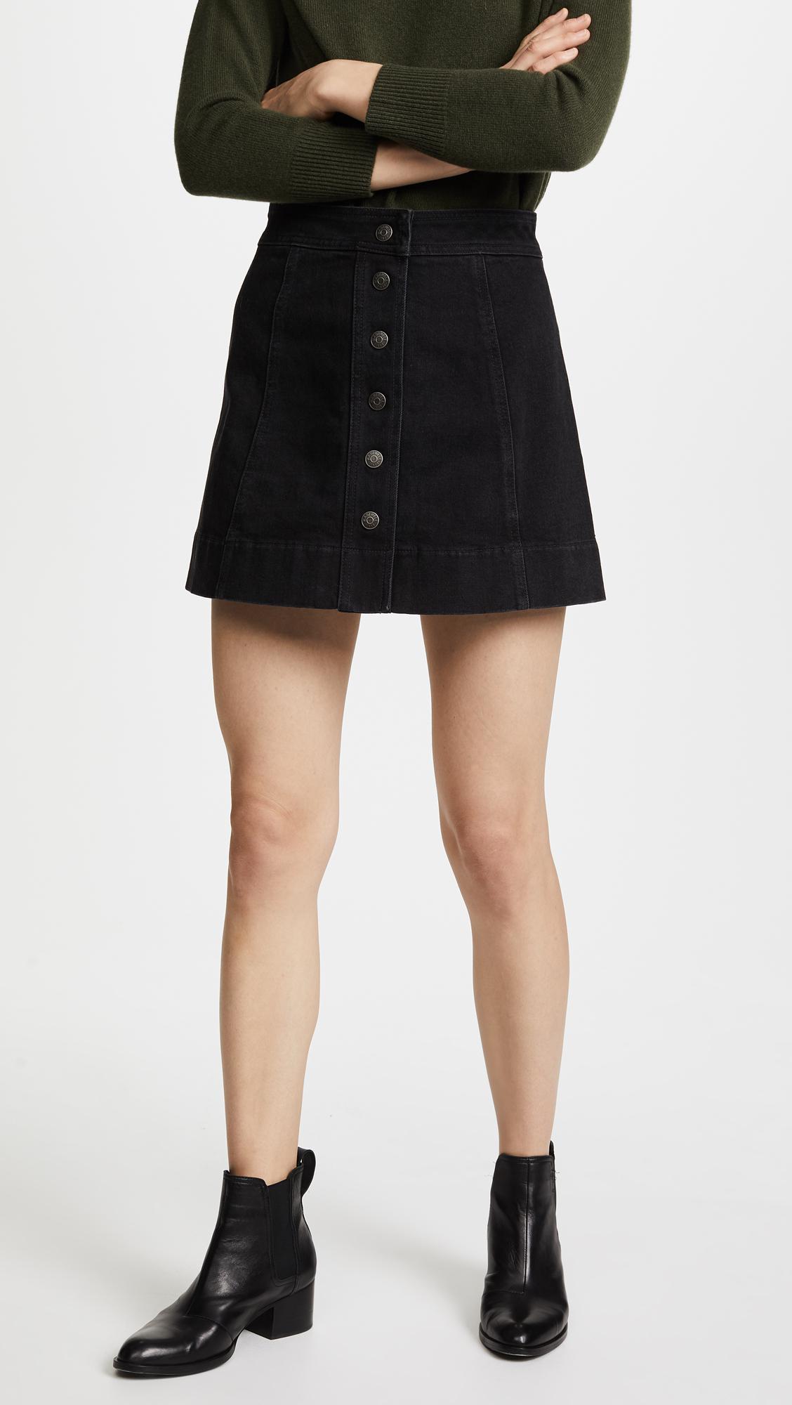 0c51806e66 Madewell Denim Button Front Miniskirt in Black - Lyst