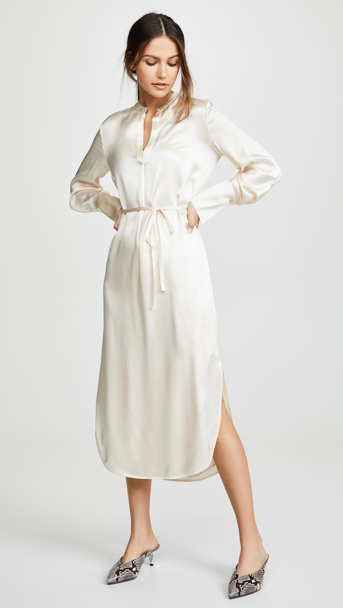 f604bacfe8ba5a Lyst - Vince Band Collar Shirtdress in White