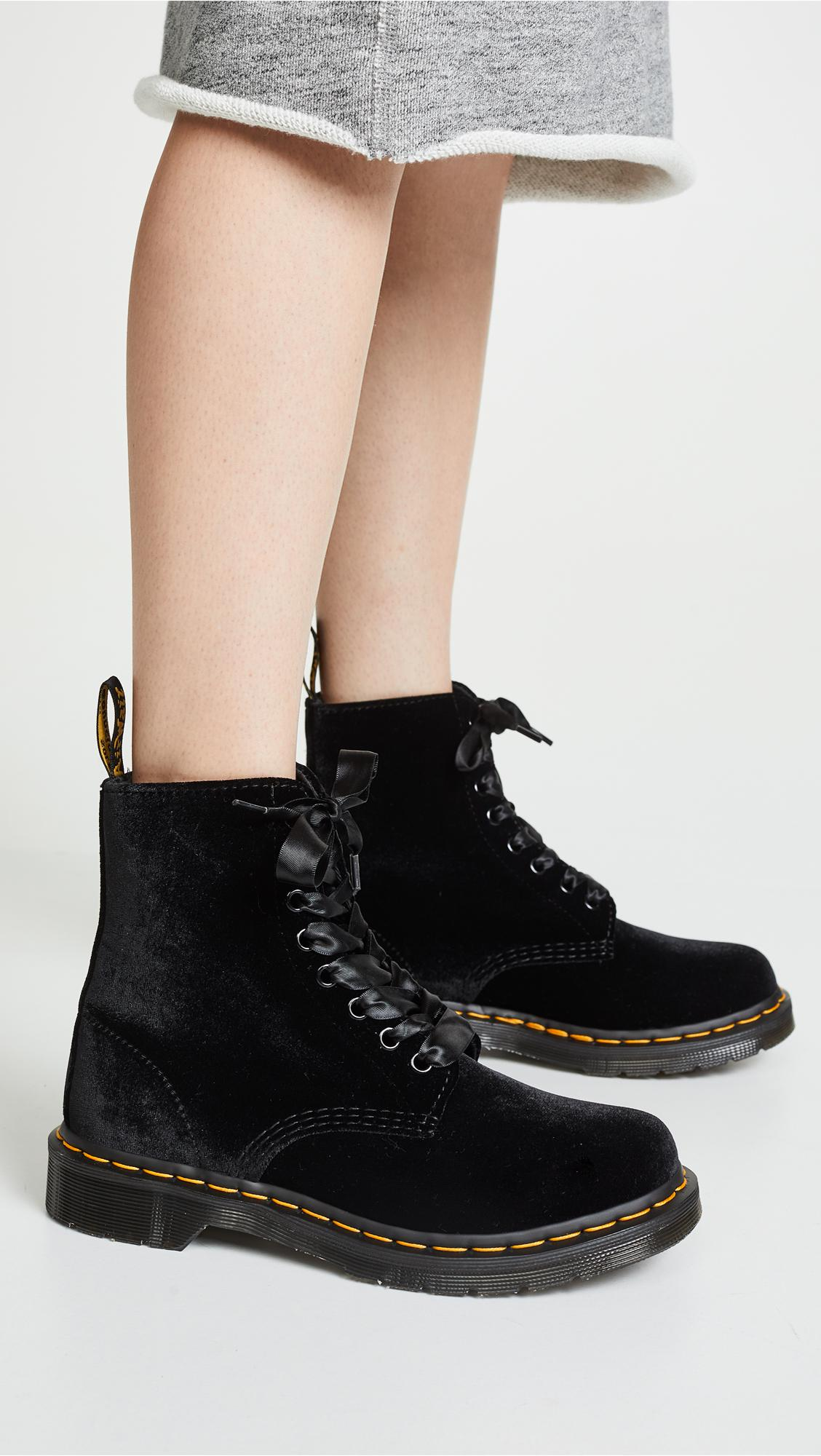 3d35e5d24f0c1c Lyst - Dr. Martens Jadon 8 Eye Velvet Boots in Black