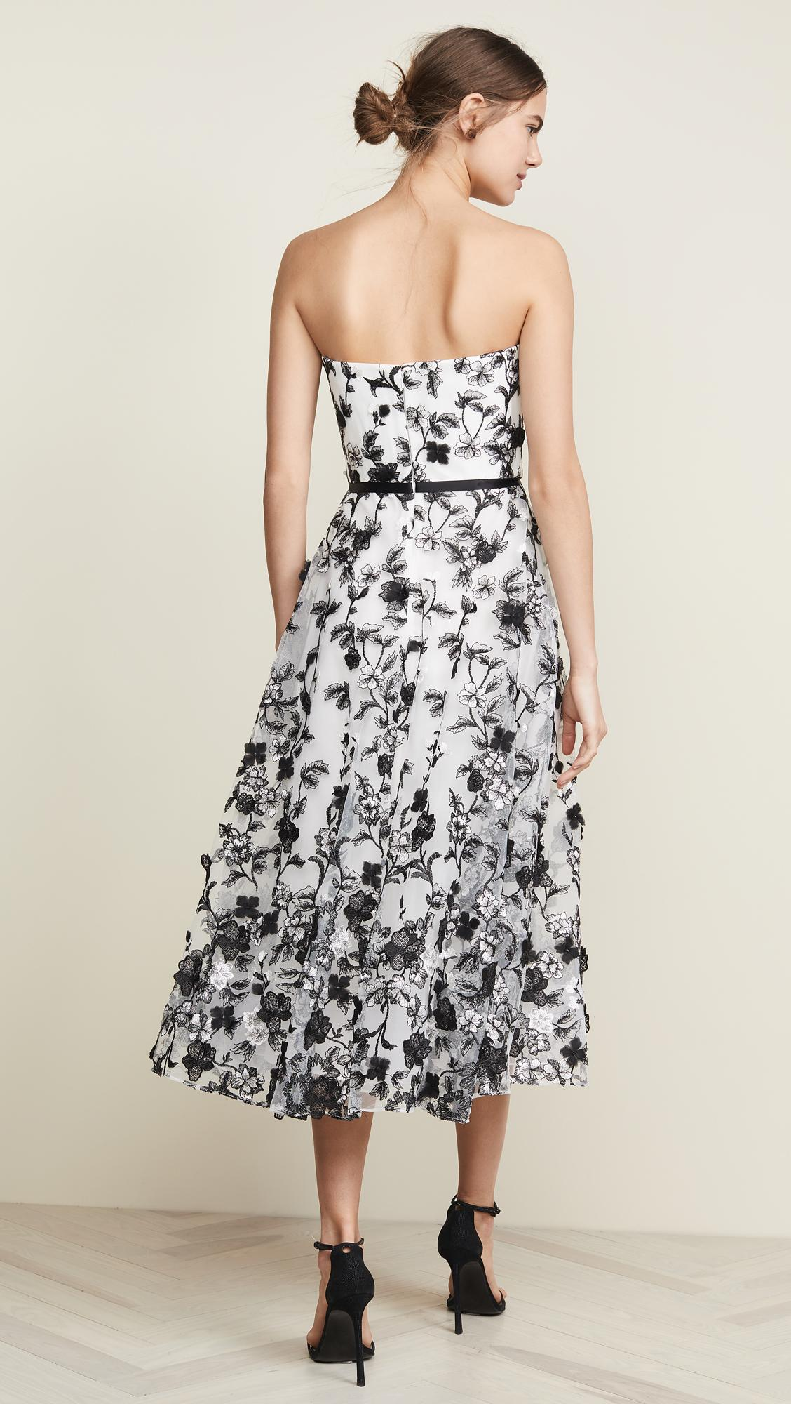 1c8c58976bc Marchesa notte - White Strapless Embroidered 3d Flower Gown - Lyst. View  fullscreen