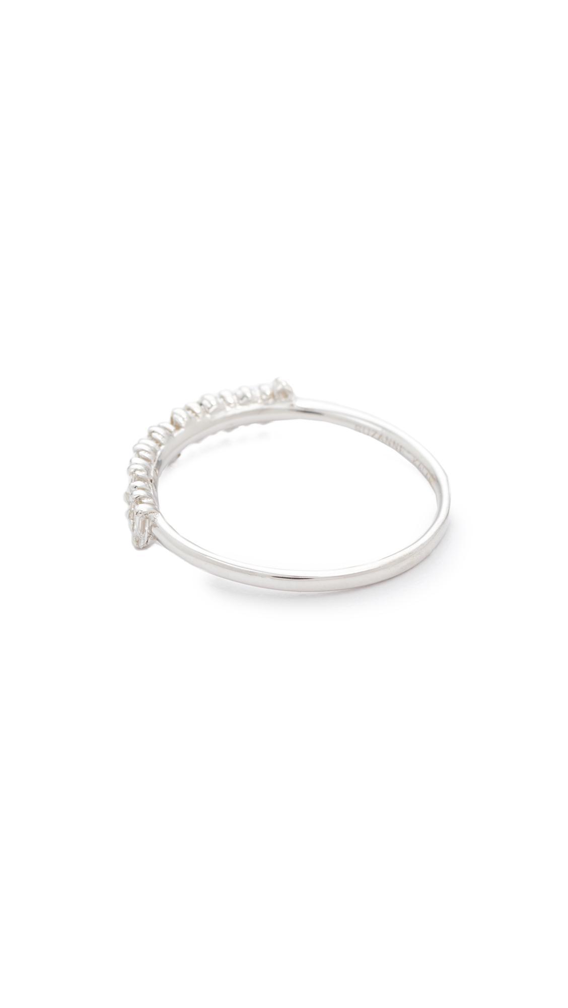 Suzanne Kalan 18k Fireworks Gold Diamond Half Band Ring in White Gold (Metallic)