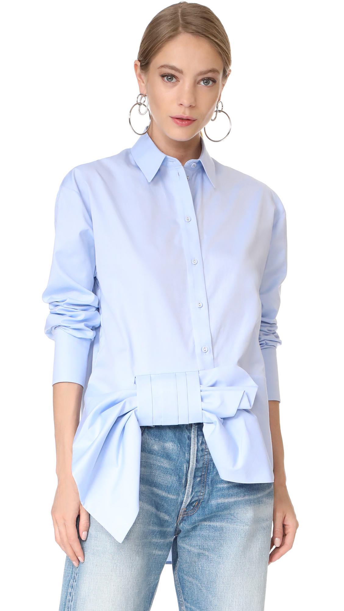 Lyst Victoria Victoria Beckham Asymmetrical Bow Shirt
