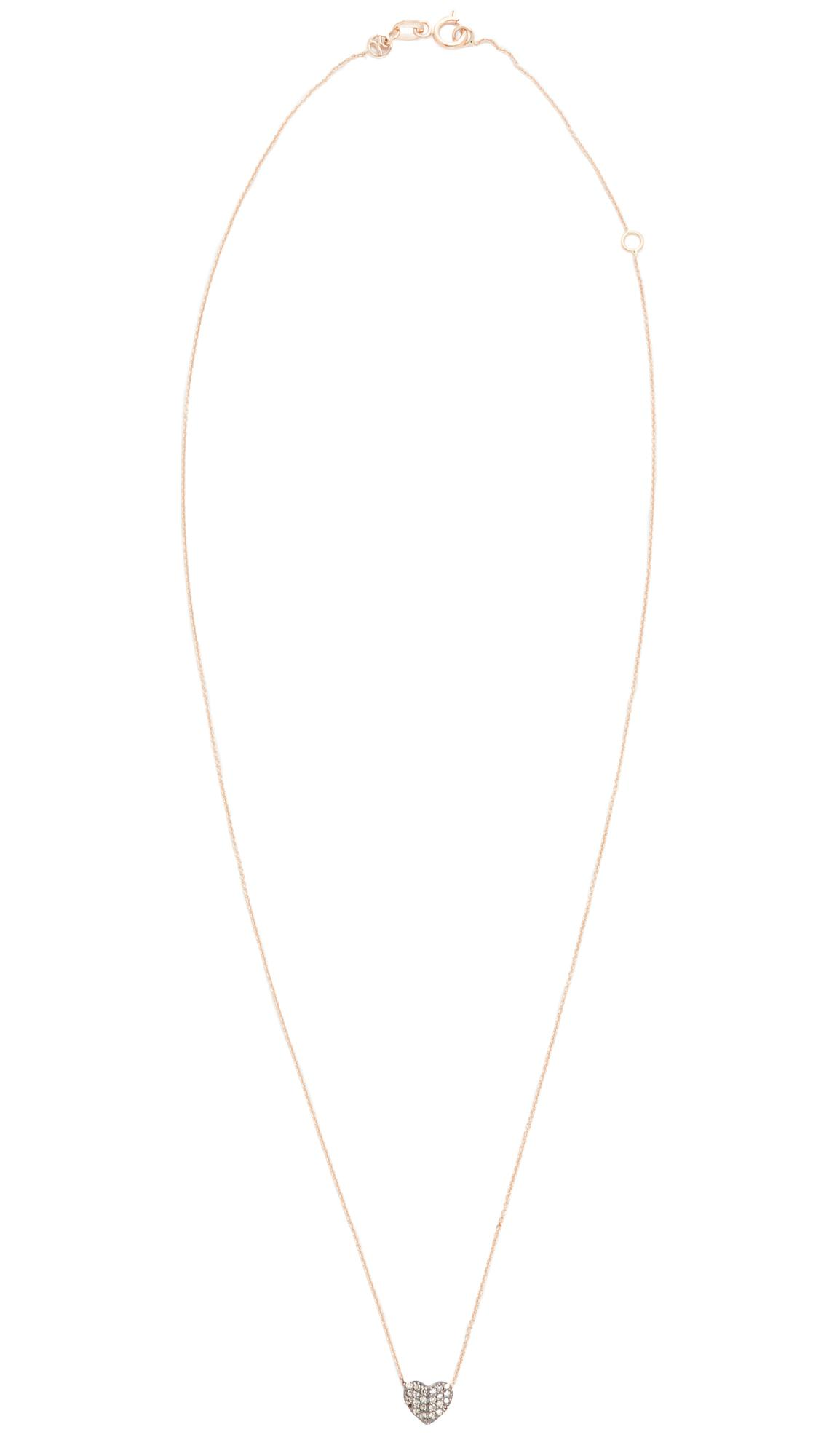 Kismet by Milka Tiny Folded Heart Necklace in Rose Gold/Champagne (Metallic)