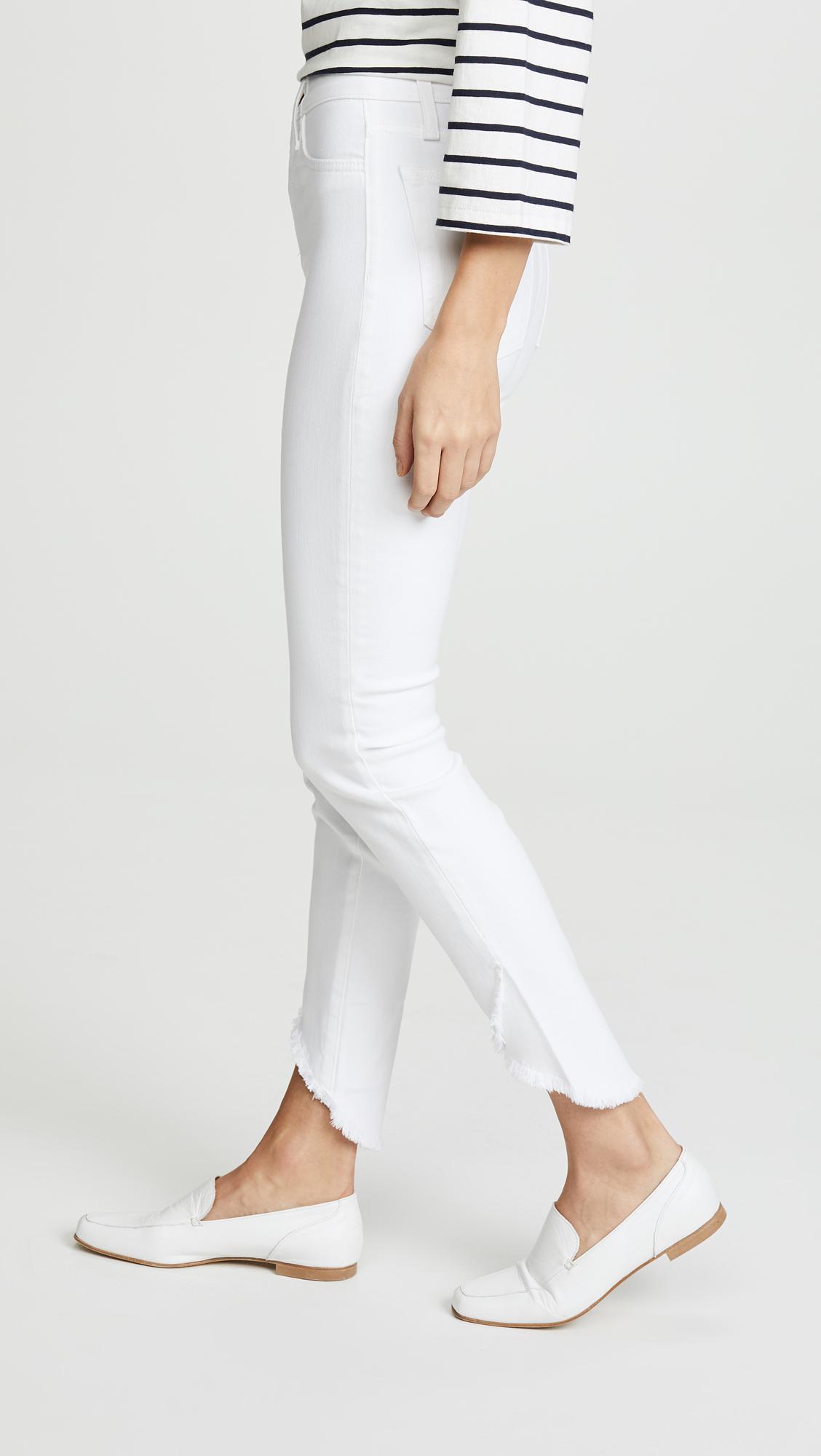 Joe's Jeans Denim Charlie High Rise Skinny Ankle With Tulip Hem Jean in White