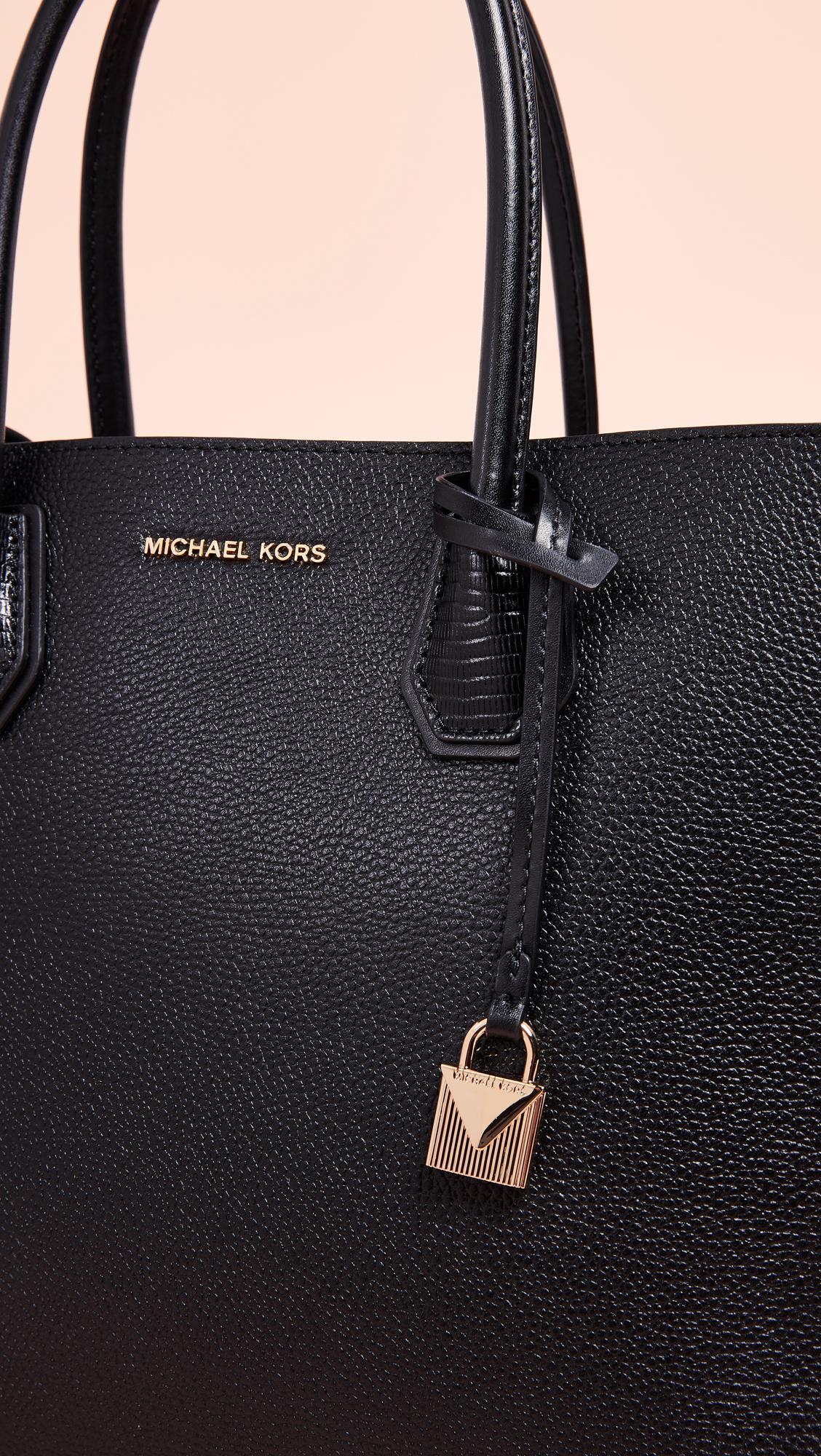 MICHAEL Michael Kors Leather Mercer Large Convertible Tote in Black