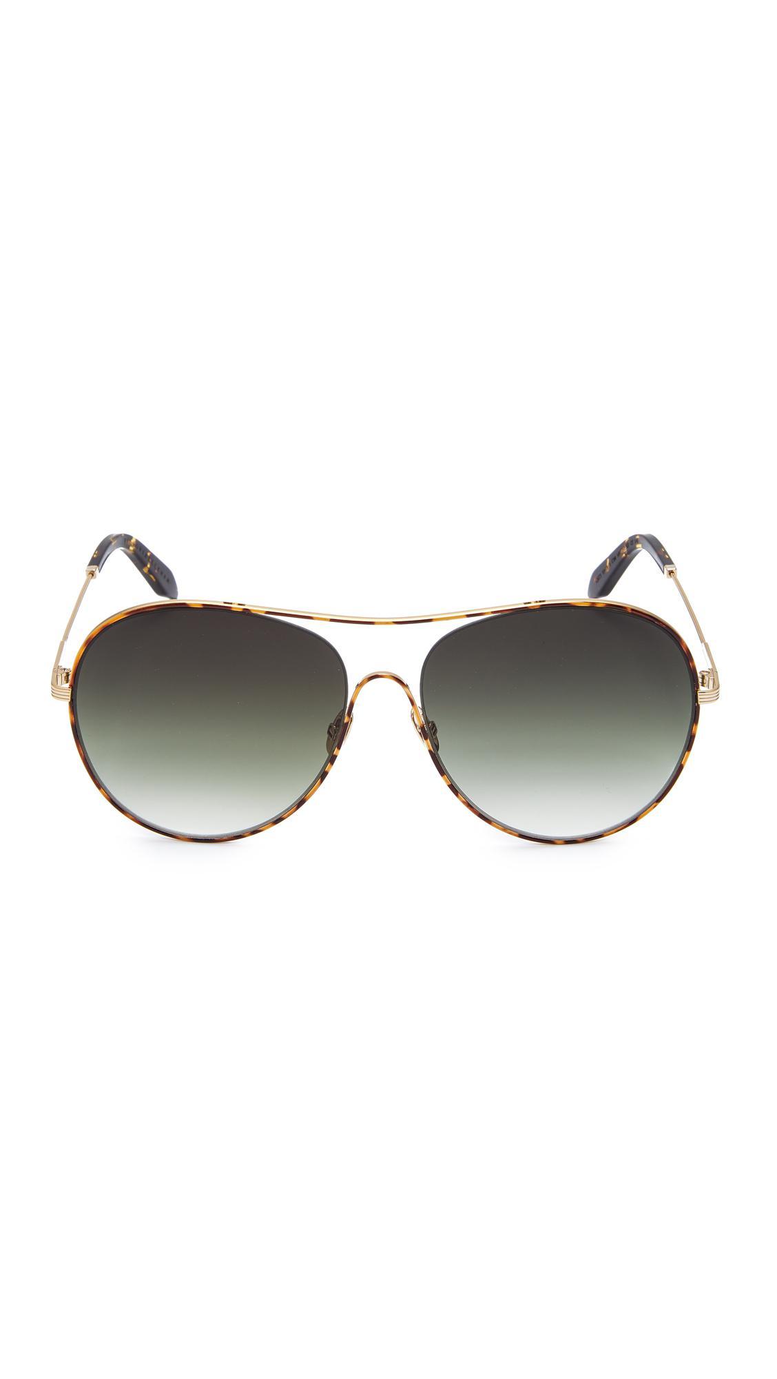 Victoria Beckham Loop Round Aviator Sunglasses in Brown