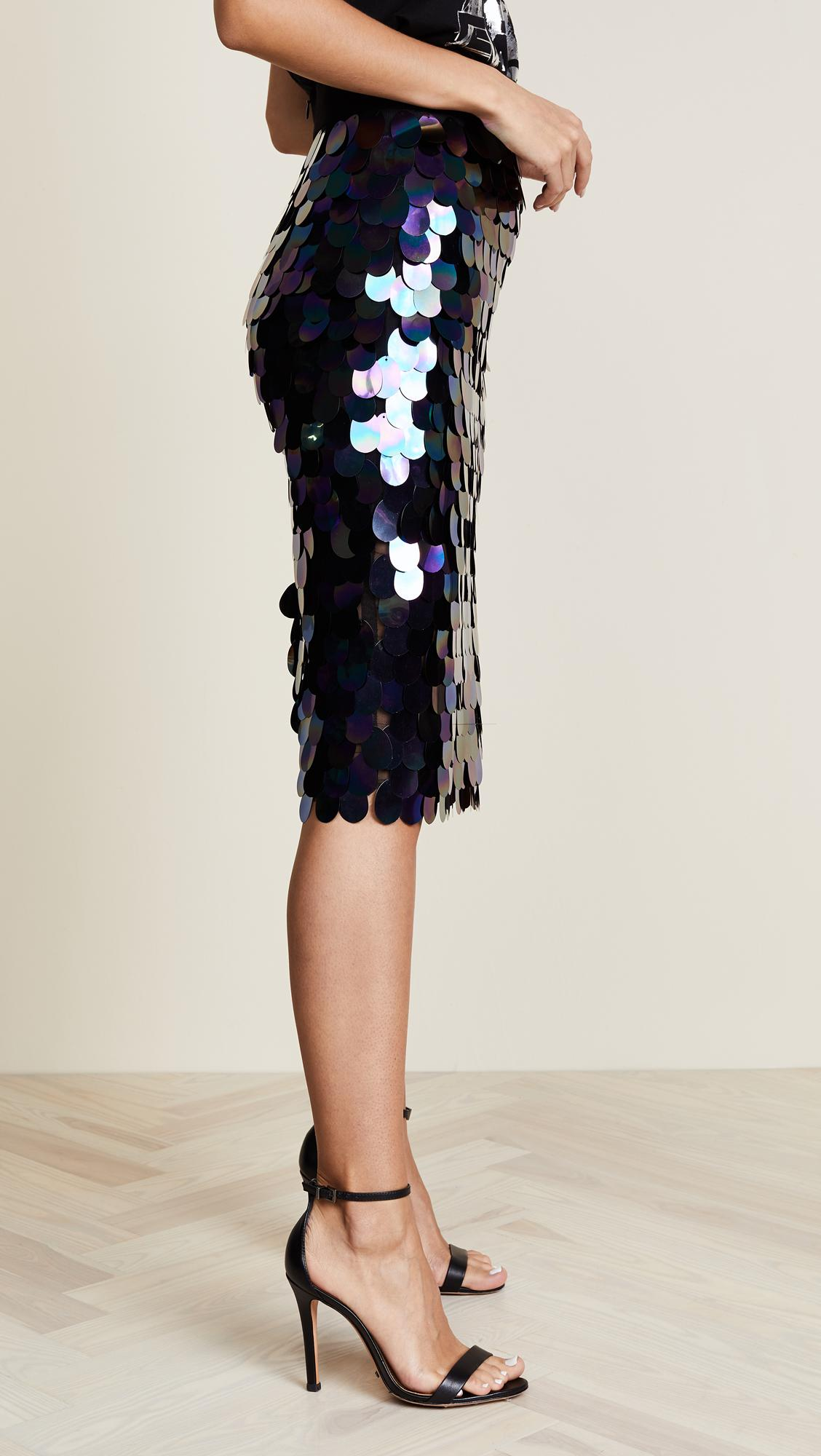 Milly Synthetic Paillette Sequin Midi Skirt In Blue Lyst