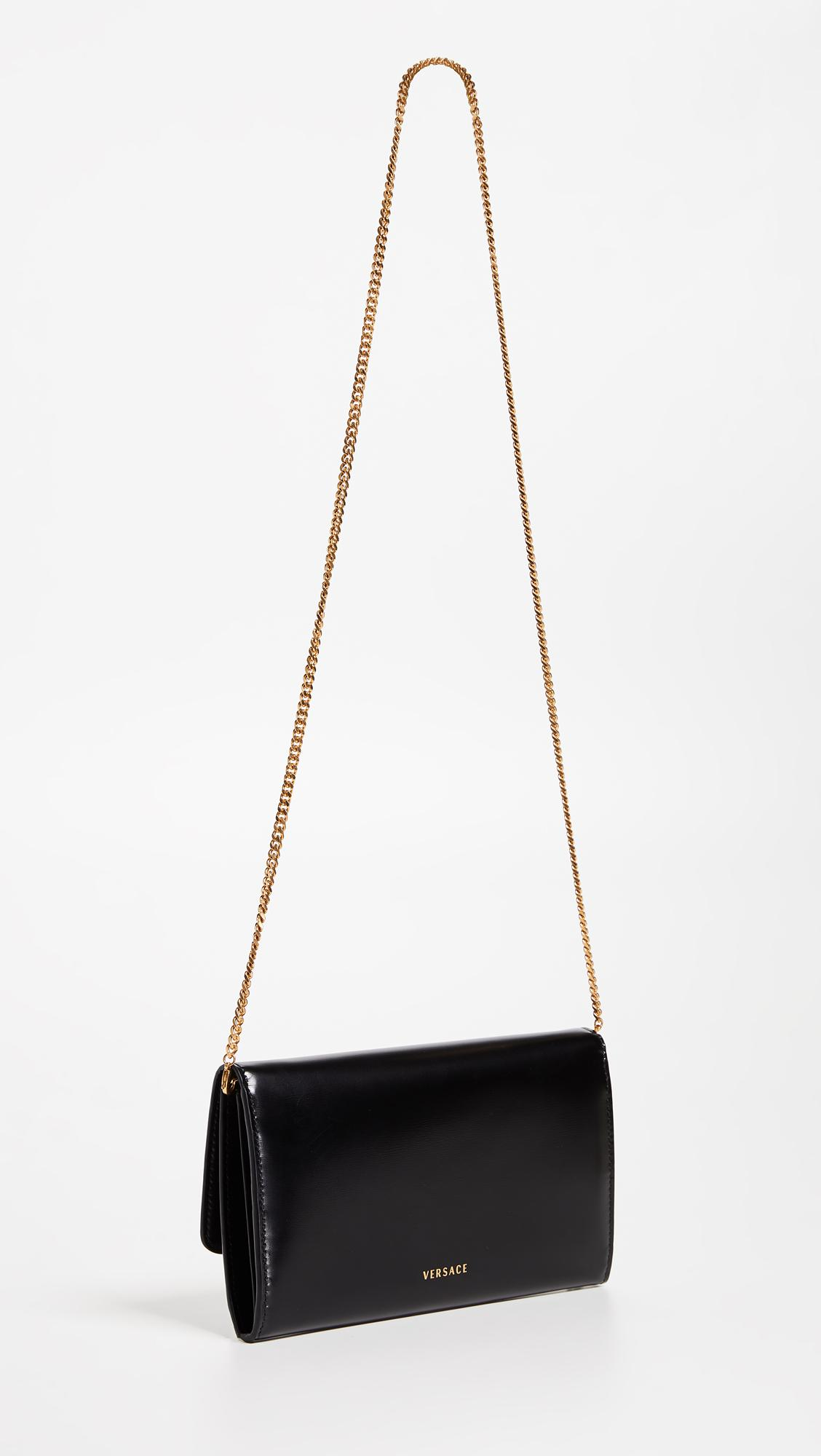 Versace Leather Wallet On A Chain Cross Body Bag in Black