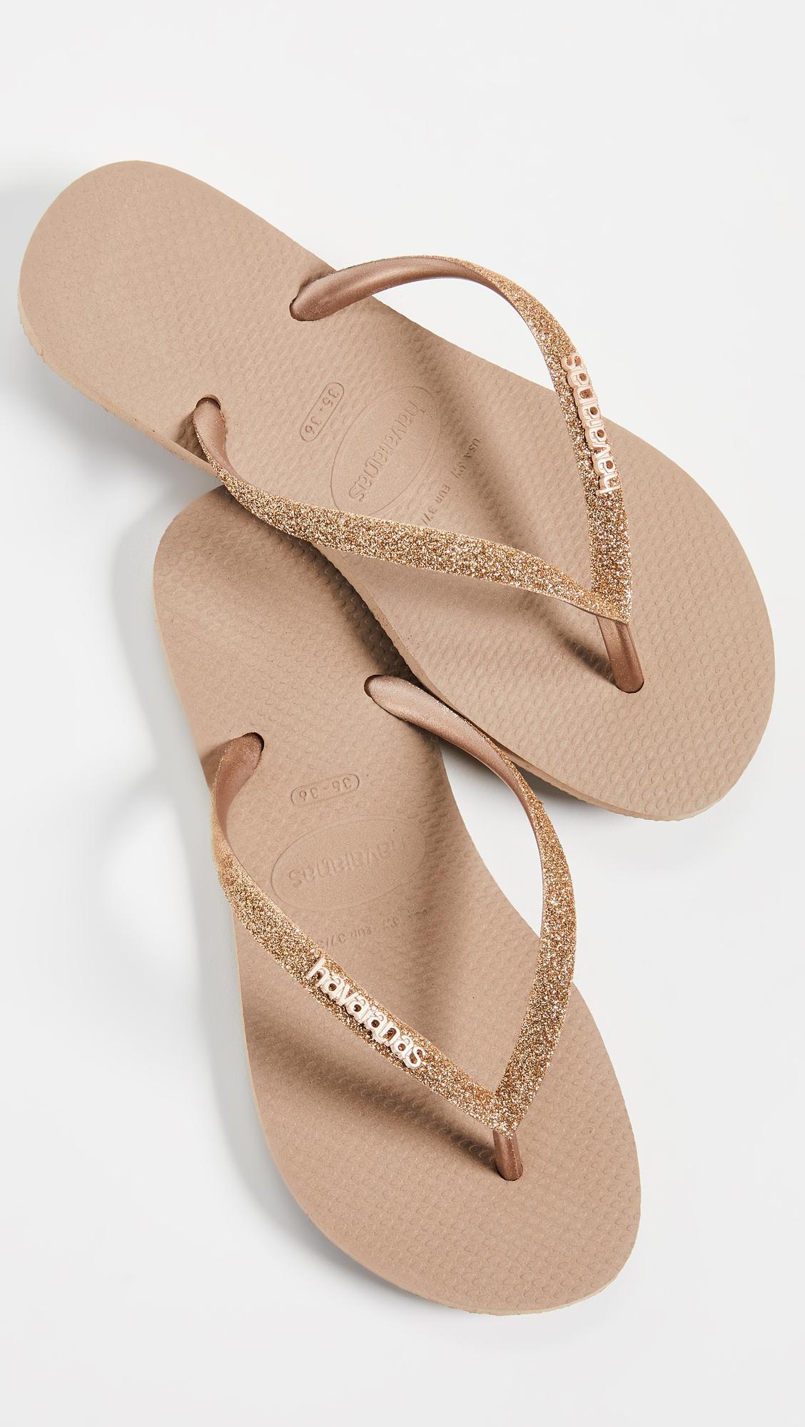 Havaianas Rubber Slim Glitter Flip Flops - Lyst-6722