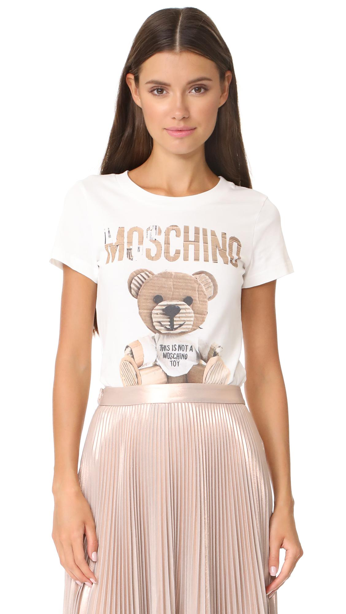Lyst moschino bear ss shirt in white for Bear river workwear shirts