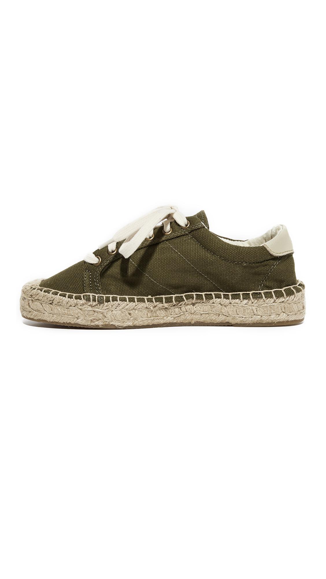Soludos Canvas Platform Tennis Sneakers in Camo Green (Green)