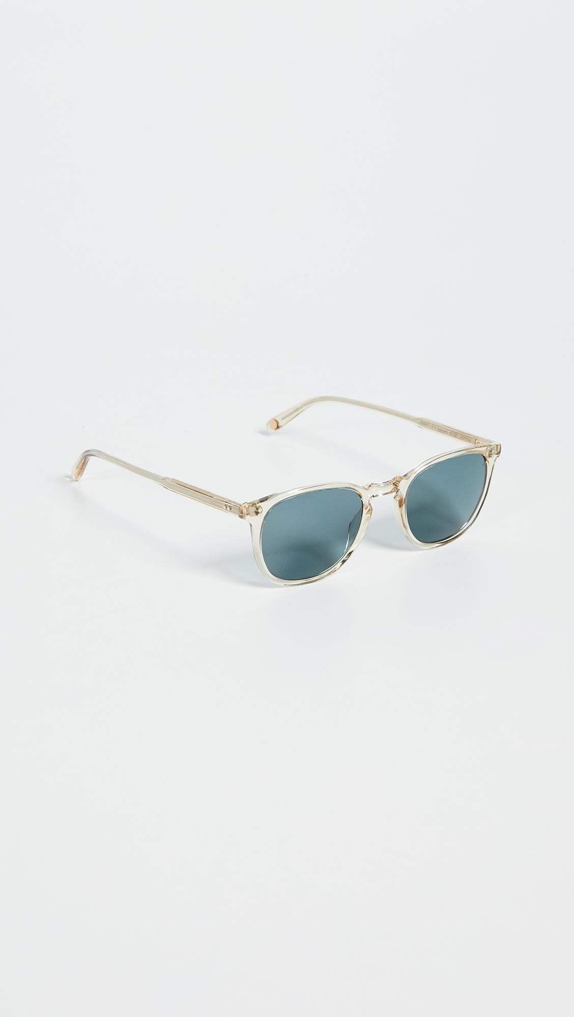 Garrett Leight Kinney 47 Sunglasses in Champagne/Blue (Blue)