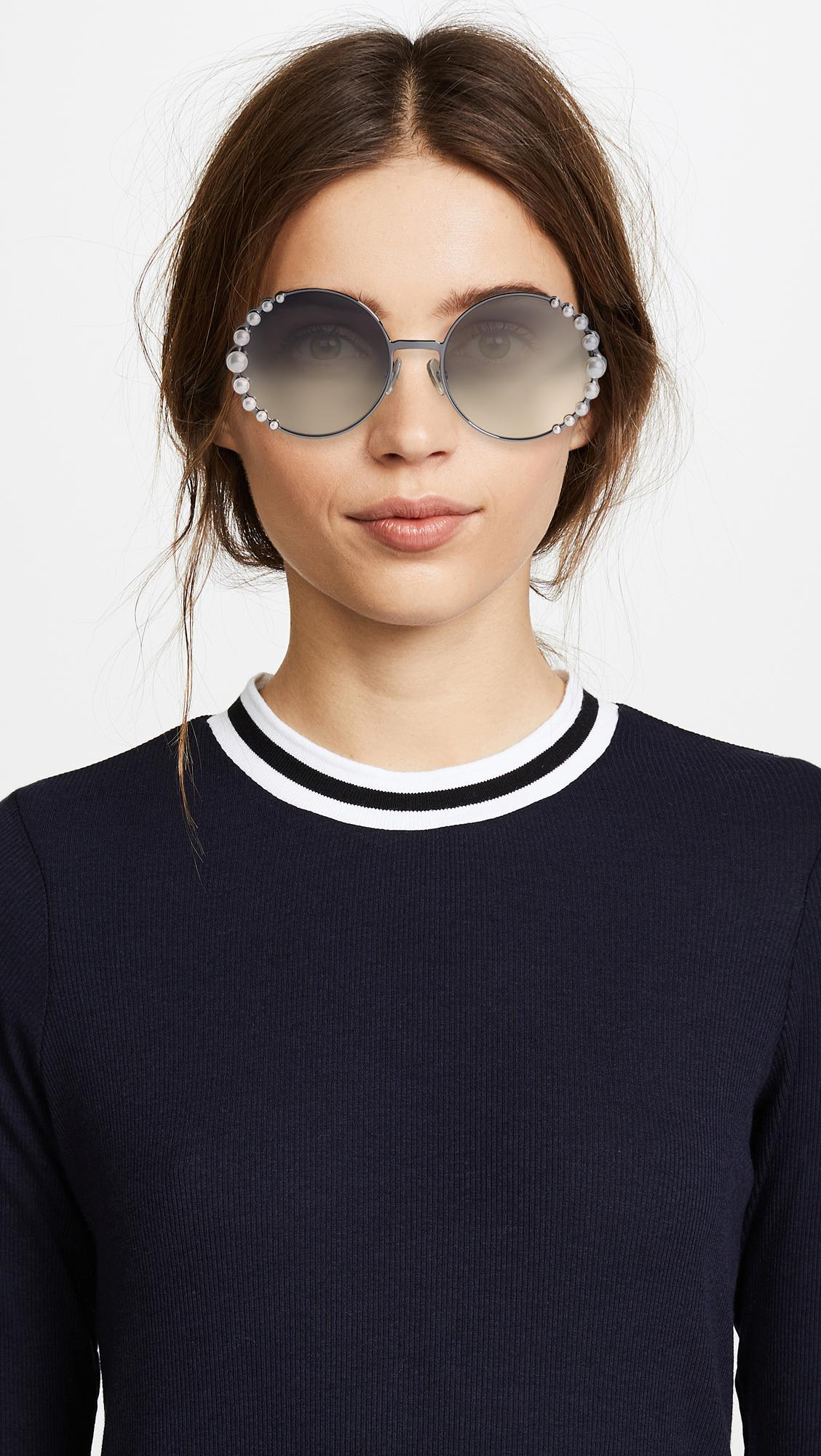 36c193a7 Women's Round Pearl Frame Sunglasses