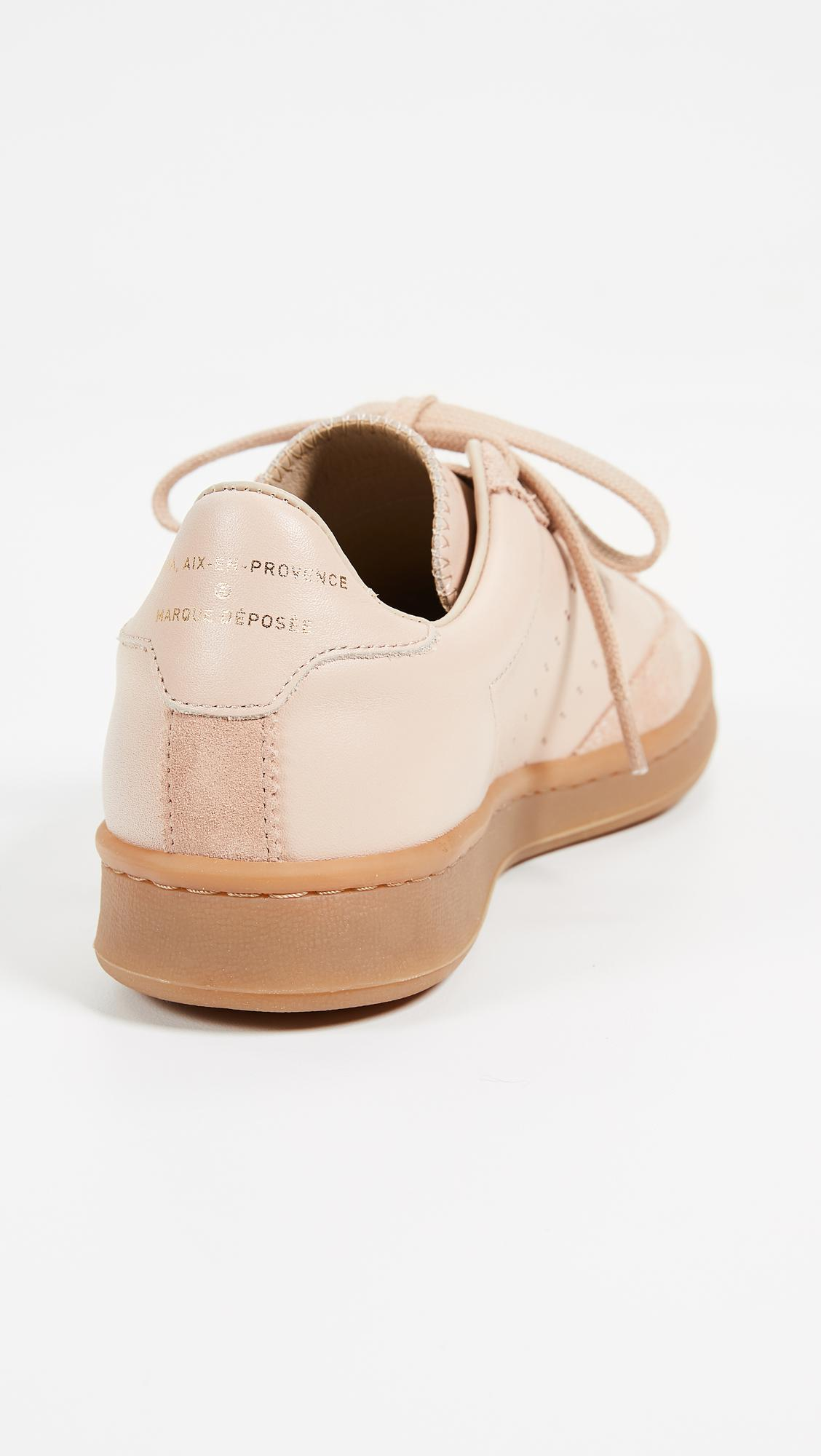 Zespà Leather Lace Up Sneakers in Nude (Natural)