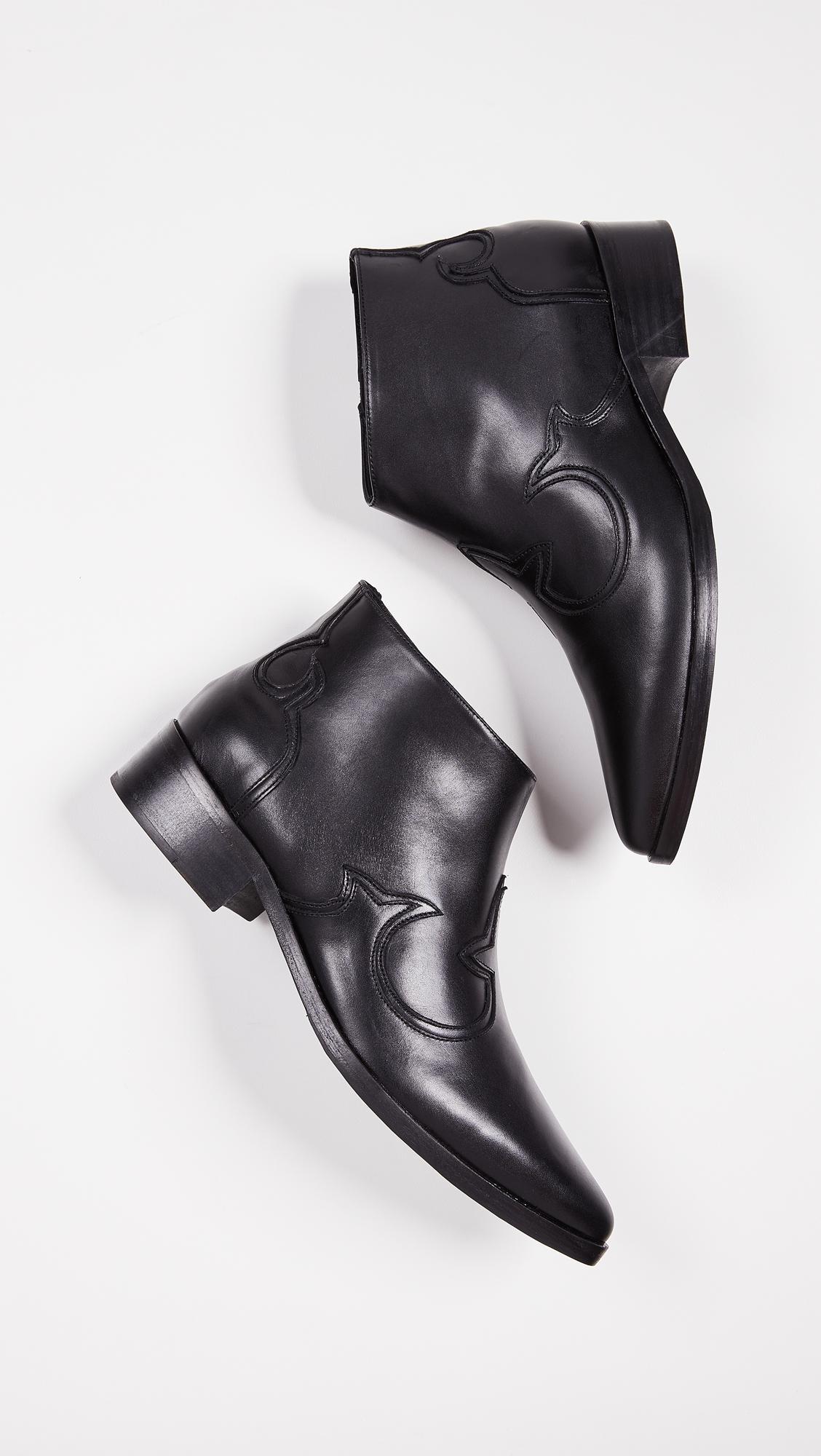 Frēda Salvador Leather The Arroyo Western Booties in Black