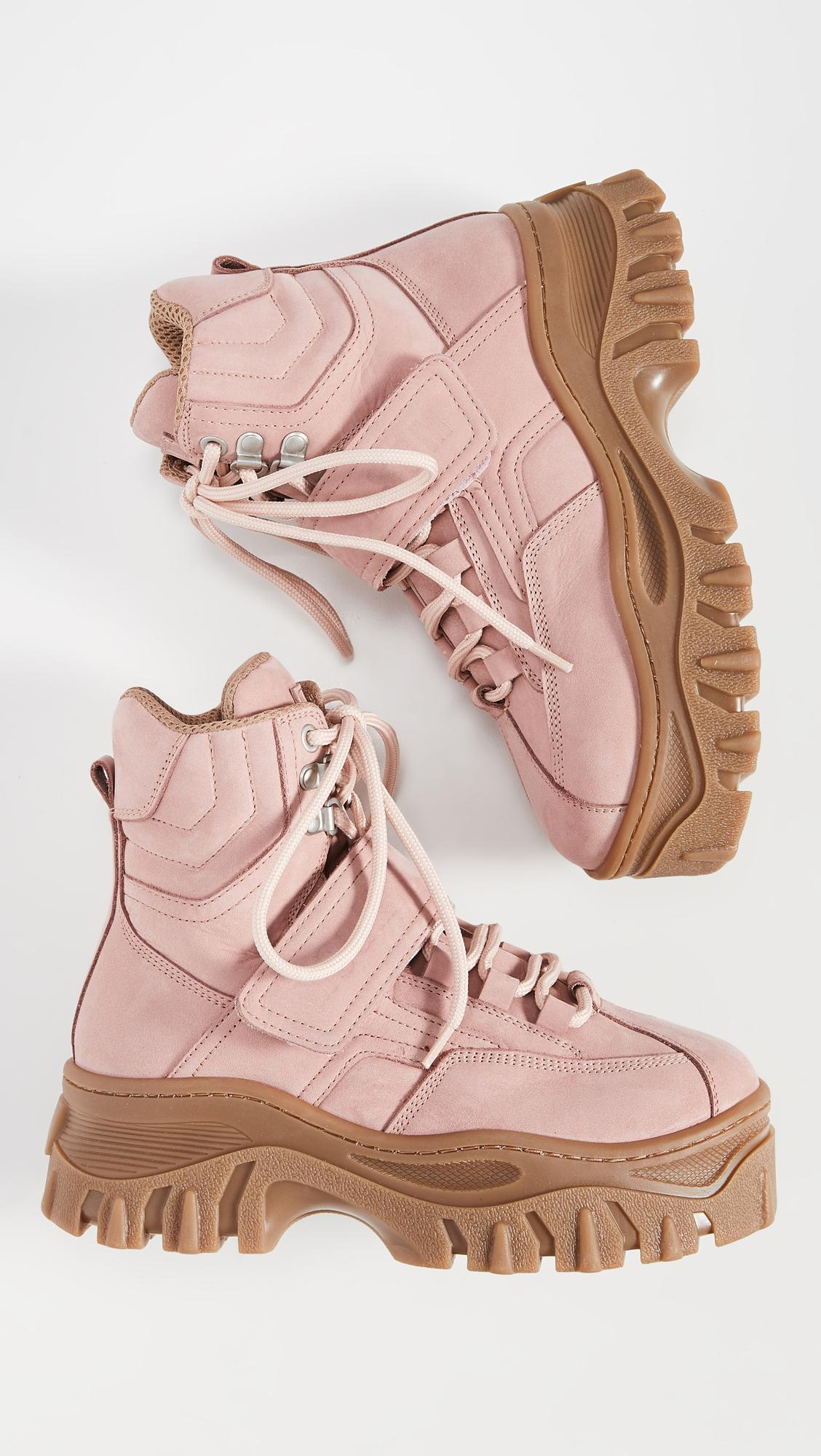 MSGM Leather Chunky Strap Sneaker Boots