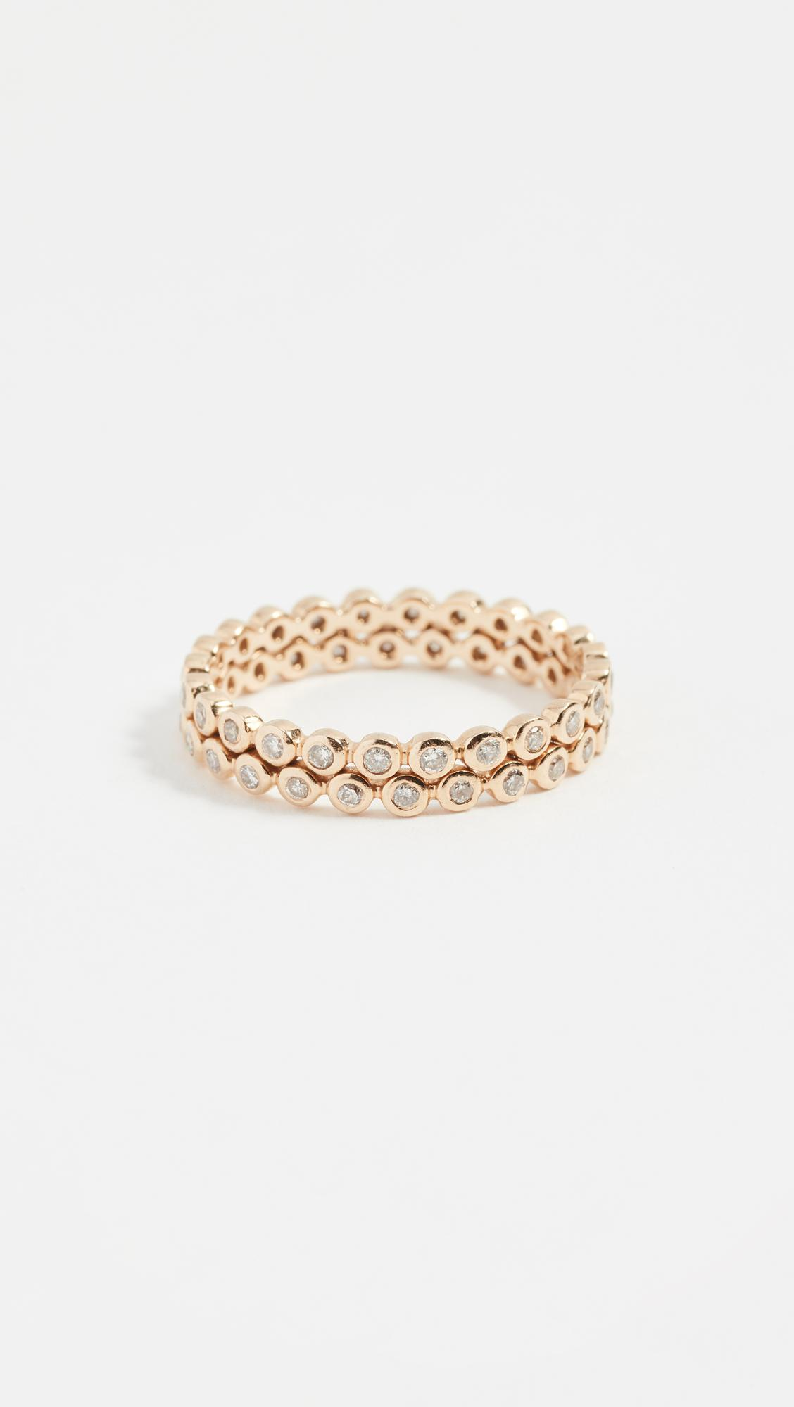 SHAY 14k Gold Double Row Diamond Eternity Band in Yellow Gold (Metallic)