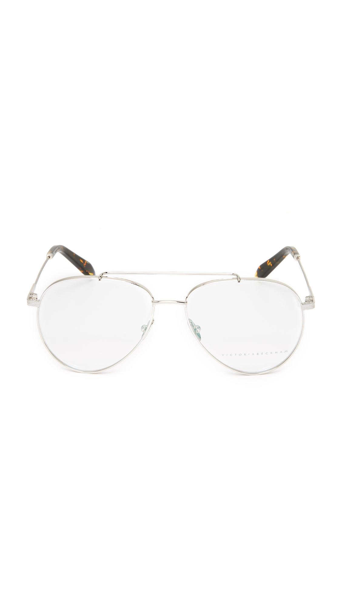 Victoria Beckham Grooved Aviator Glasses In Metallic Lyst