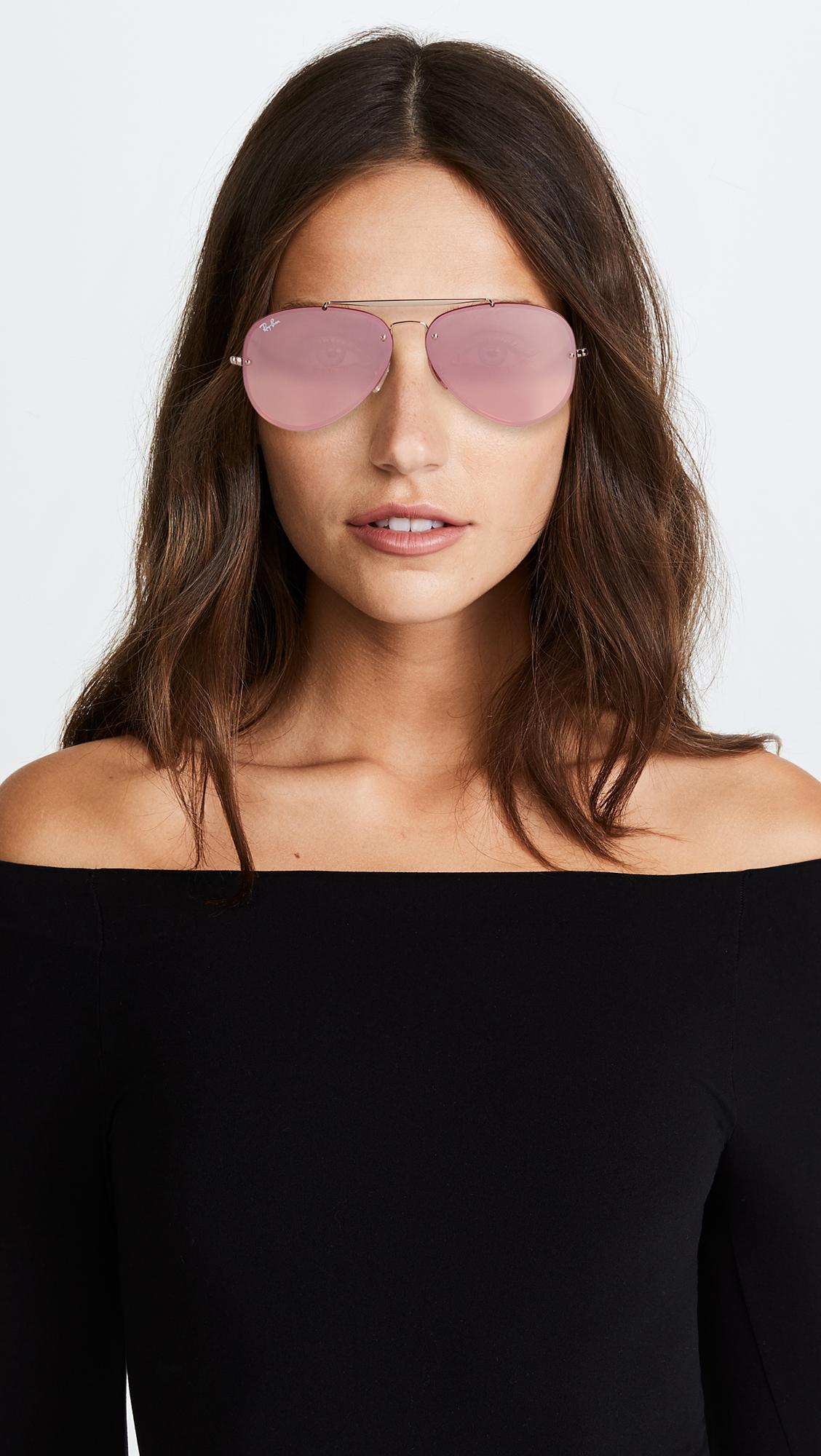 Ray-Ban Blaze Flat Lens Pilot Aviator Sunglasses in Gold/Pink (Pink)