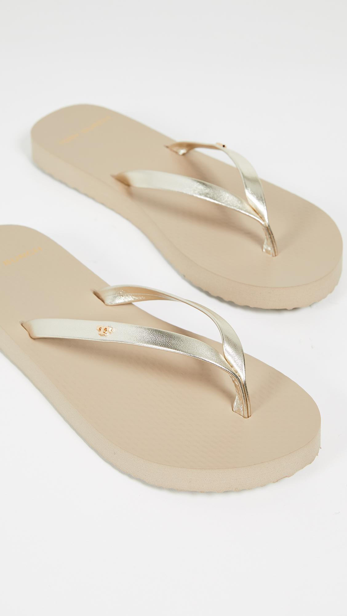 bf20b98fb06f Lyst - Tory Burch Metallic Leather Flip Flops in Metallic