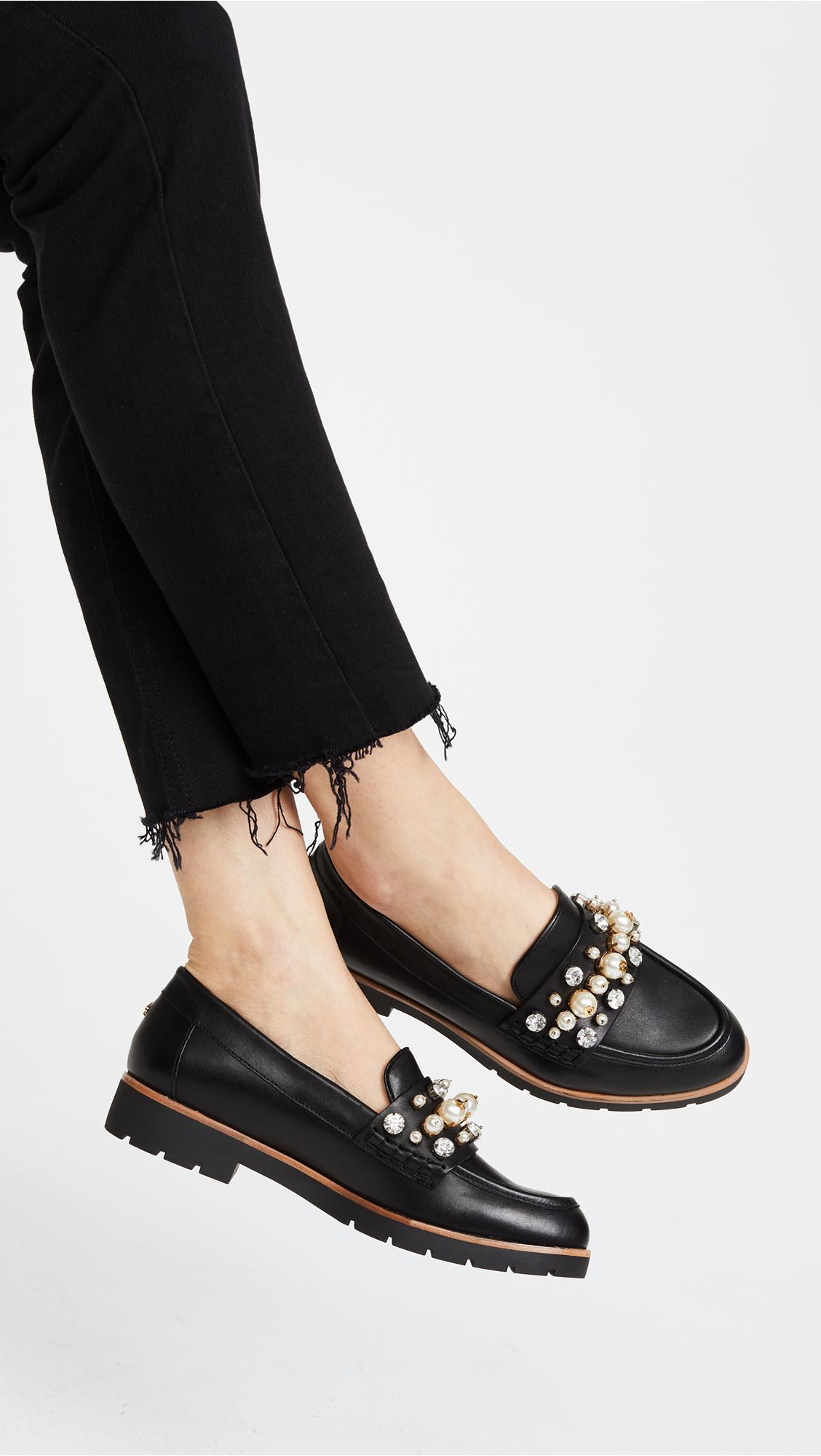 b5a977969aa Lyst - Kate Spade Karry Too Studded Loafers in Black