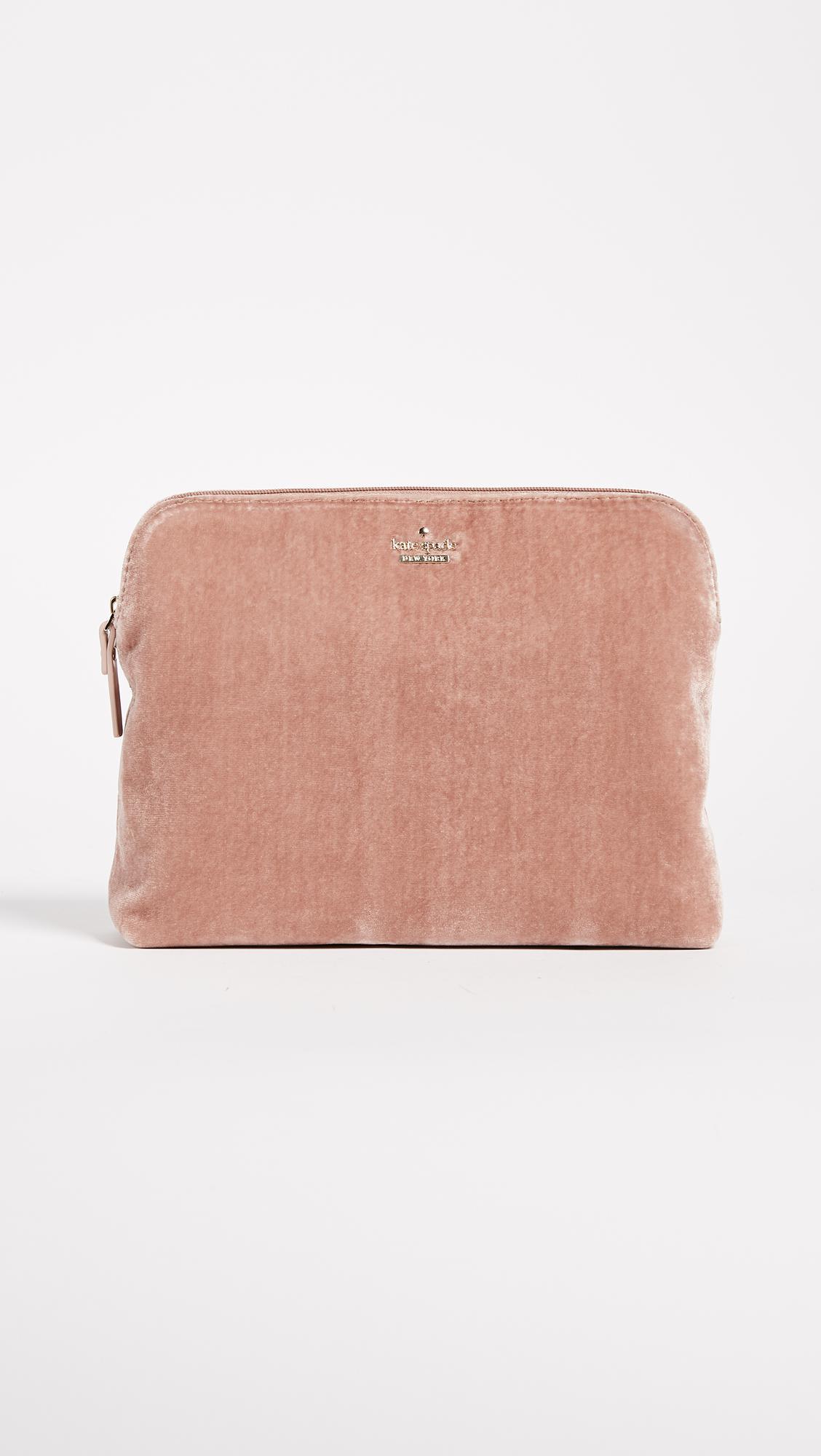 65235dfd05a5 Kate Spade Watson Lane Briley Velvet Makeup Bag in Pink - Lyst