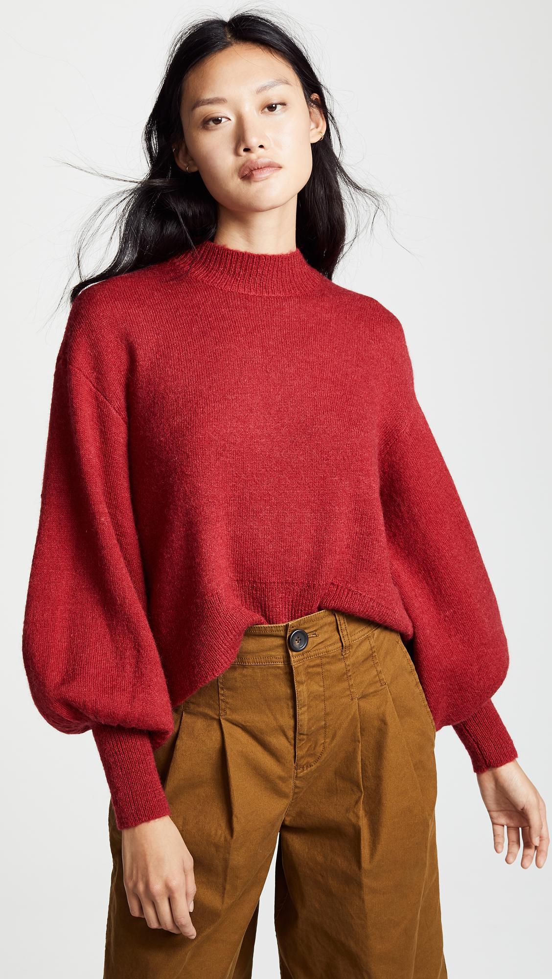 Keepsake The Label Womens Strange Love Puff Sleeve Mock Neck Knit Sweater Top