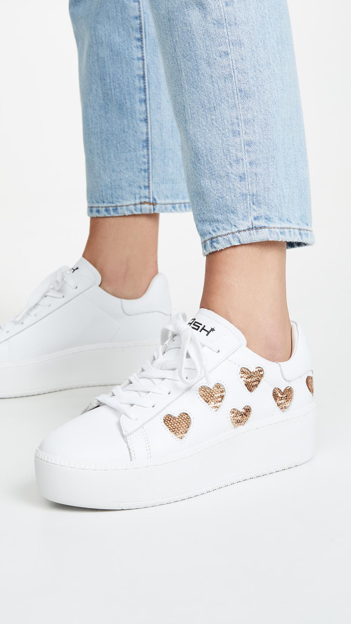Ash Leather Cute Sneakers in White/Gold