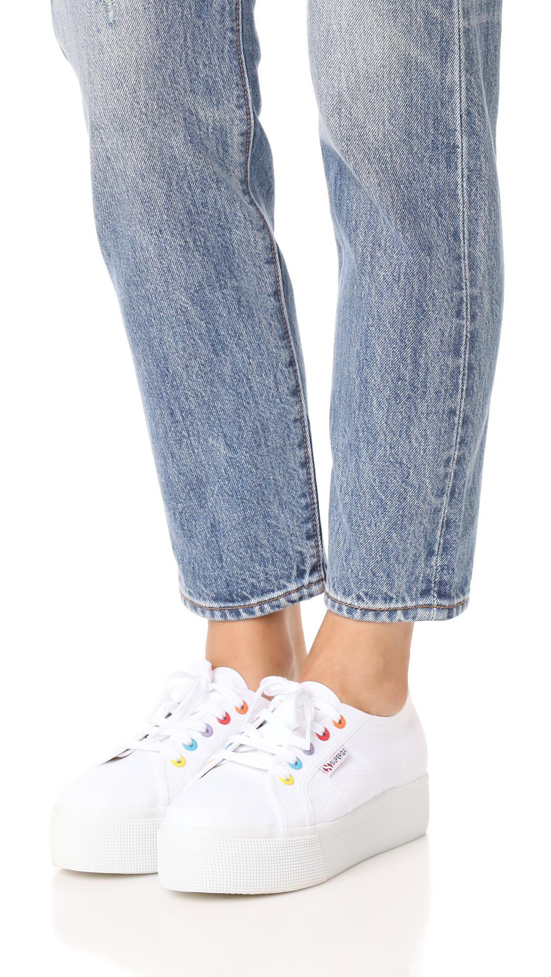 professional sale latest discount affordable price Superga Canvas 2790 Platform Cotw Eyelet Classic Sneakers in White ...